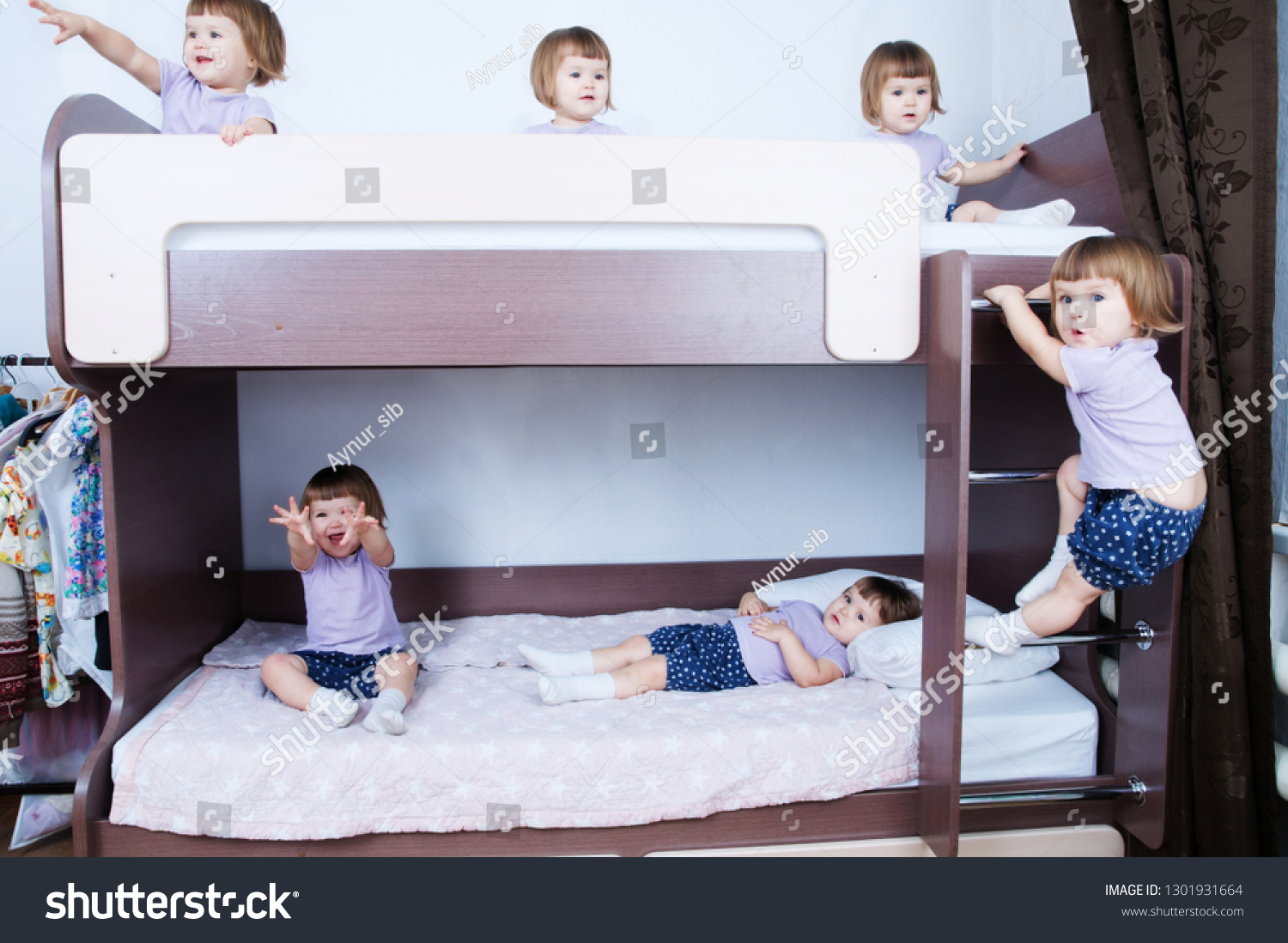 Bunk Bed Children Many Clone Baby Stock Photo Edit Now 1301931664