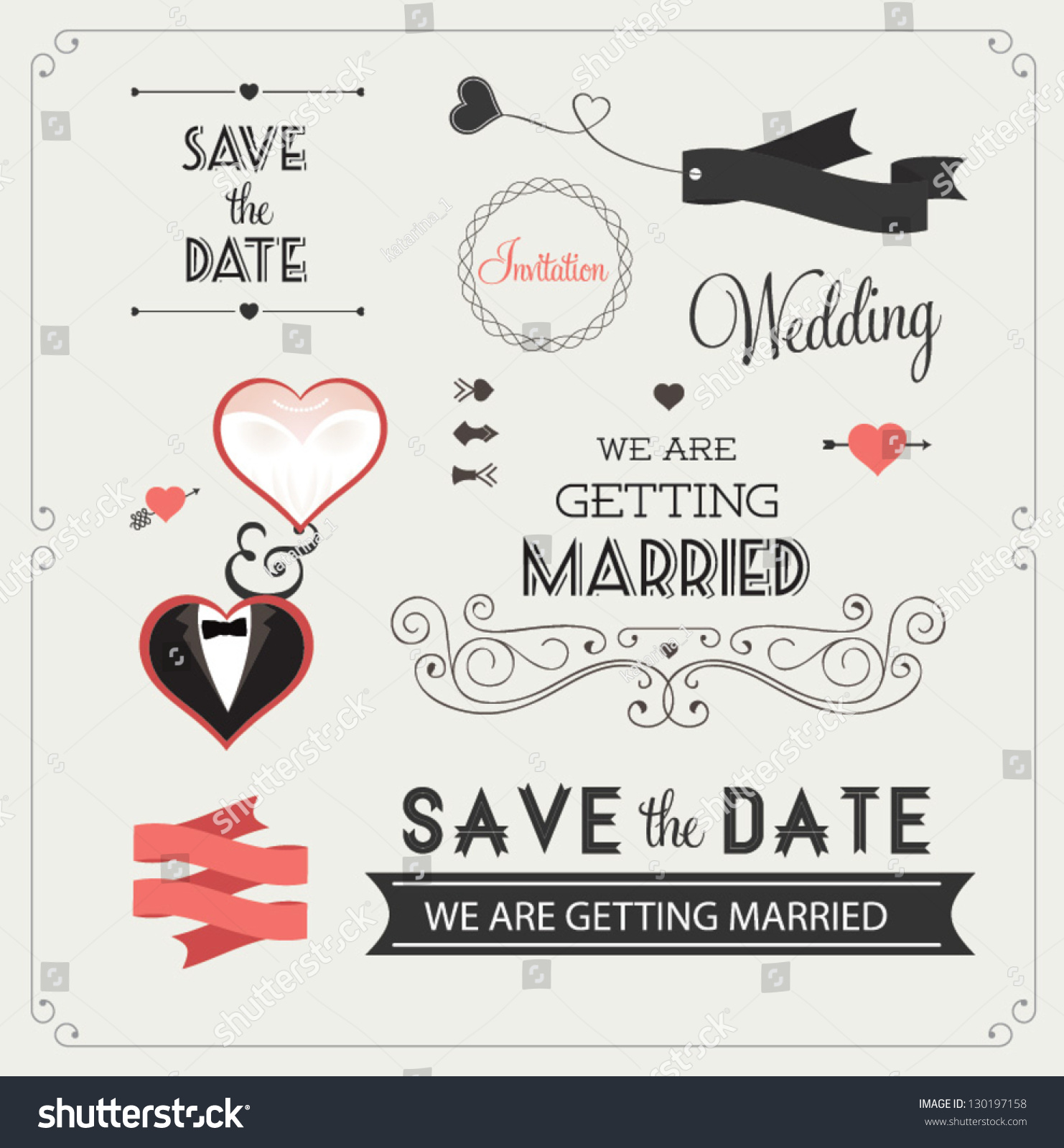 royalty free set of wedding ornaments and decorative