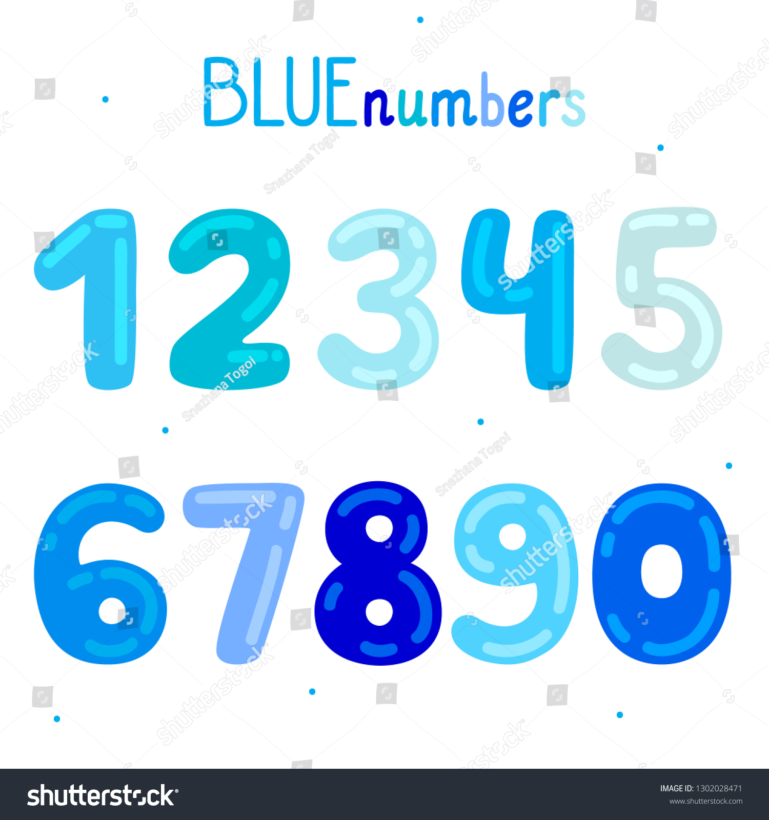 Cartoon Blue Numbers Boys Different Shades Stock Vector Royalty Free 1302028471