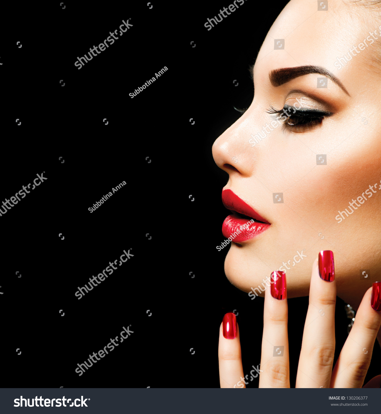 Beauty Woman With Perfect Makeup Beautiful Professional Holiday Make Up Red Lips And