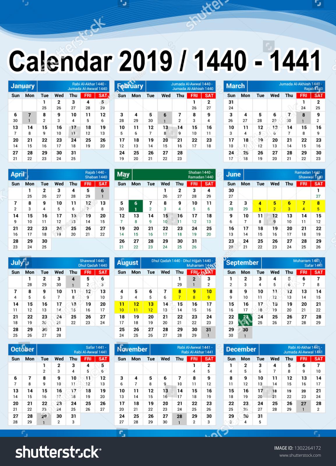 Gregorian Arabic Calendar 201914401441 English Arabic Stock