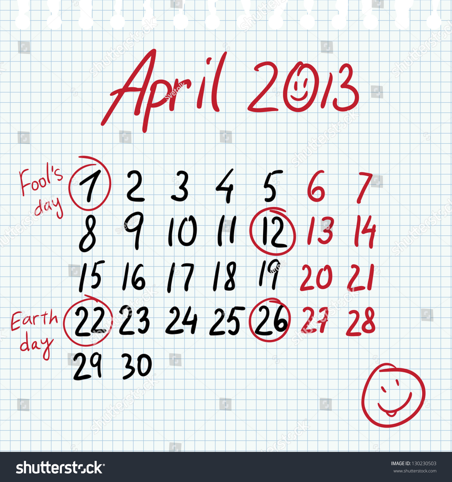 Calendar April Fools : Calendar april in sketch style on notebook sheet with