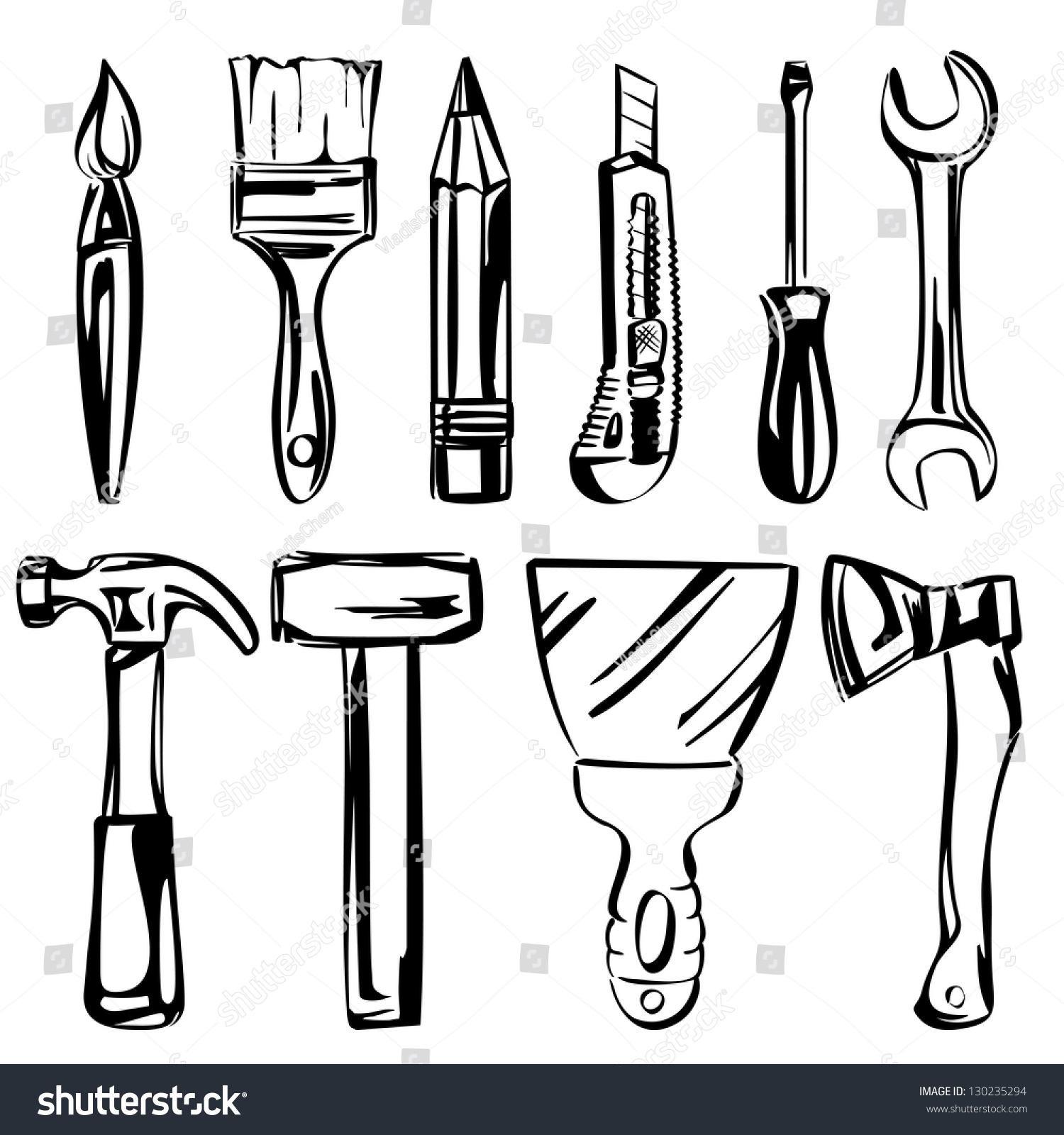 tools vector set vector illustration realistic stock vector royalty