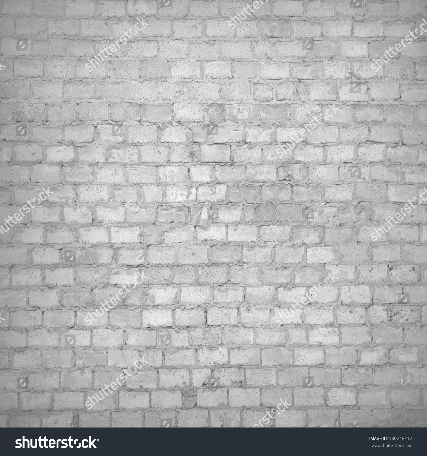 Gray Brick Wall Texture Black And White Grunge Background With Vignetted Corners Of Interior