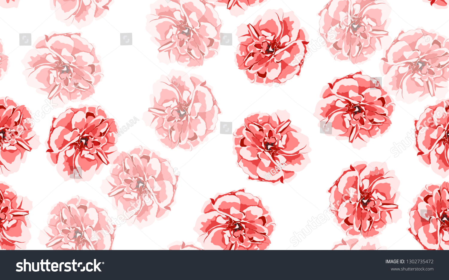 Red Roses Pattern Vintage Floral Background Stock Vector Royalty