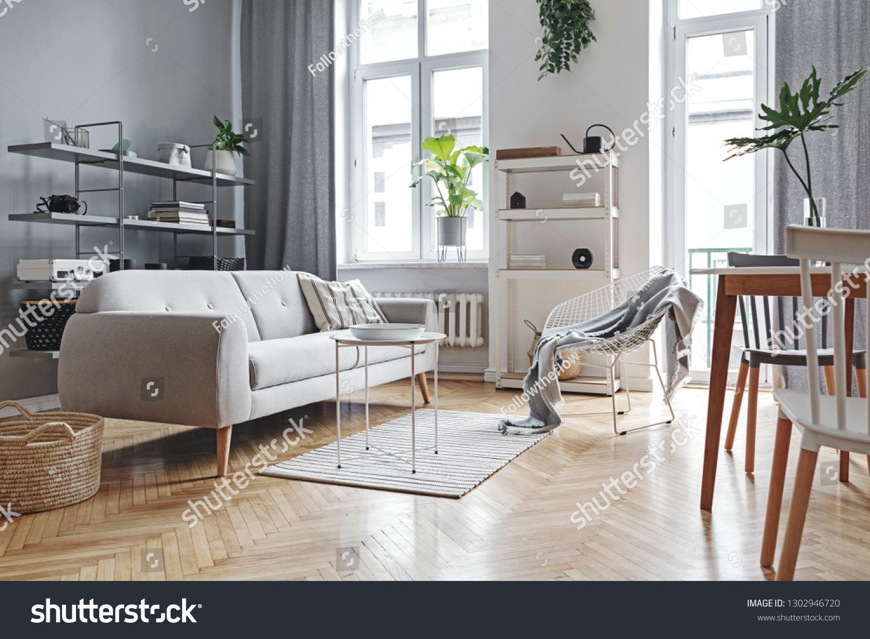 Stylish Home Nordic Living Room Design Stock Photo Edit Now