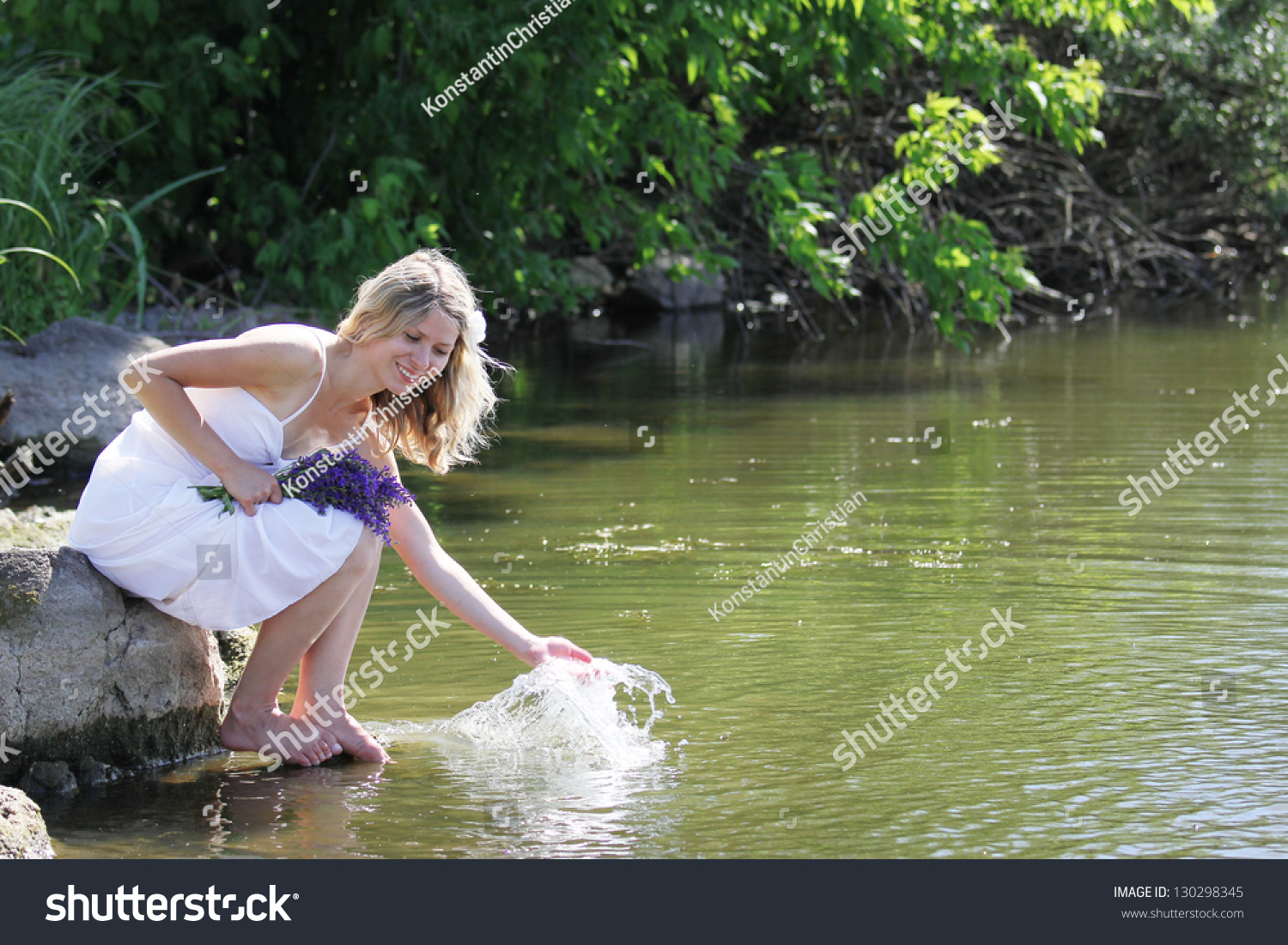 Young Girl Squirting Water Lake Stock Photo 130298345 -2212