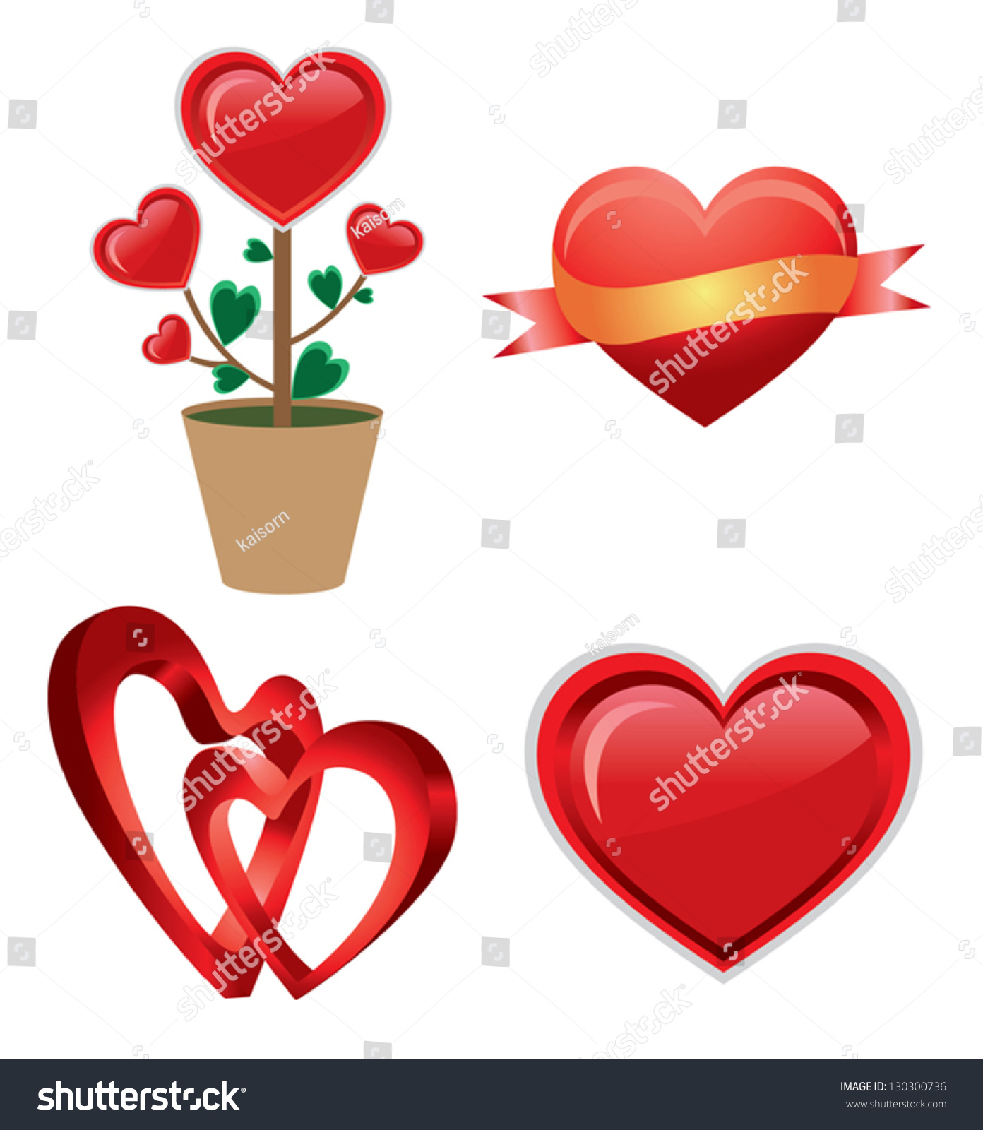 set red valentine heart red heart stock vector 130300736