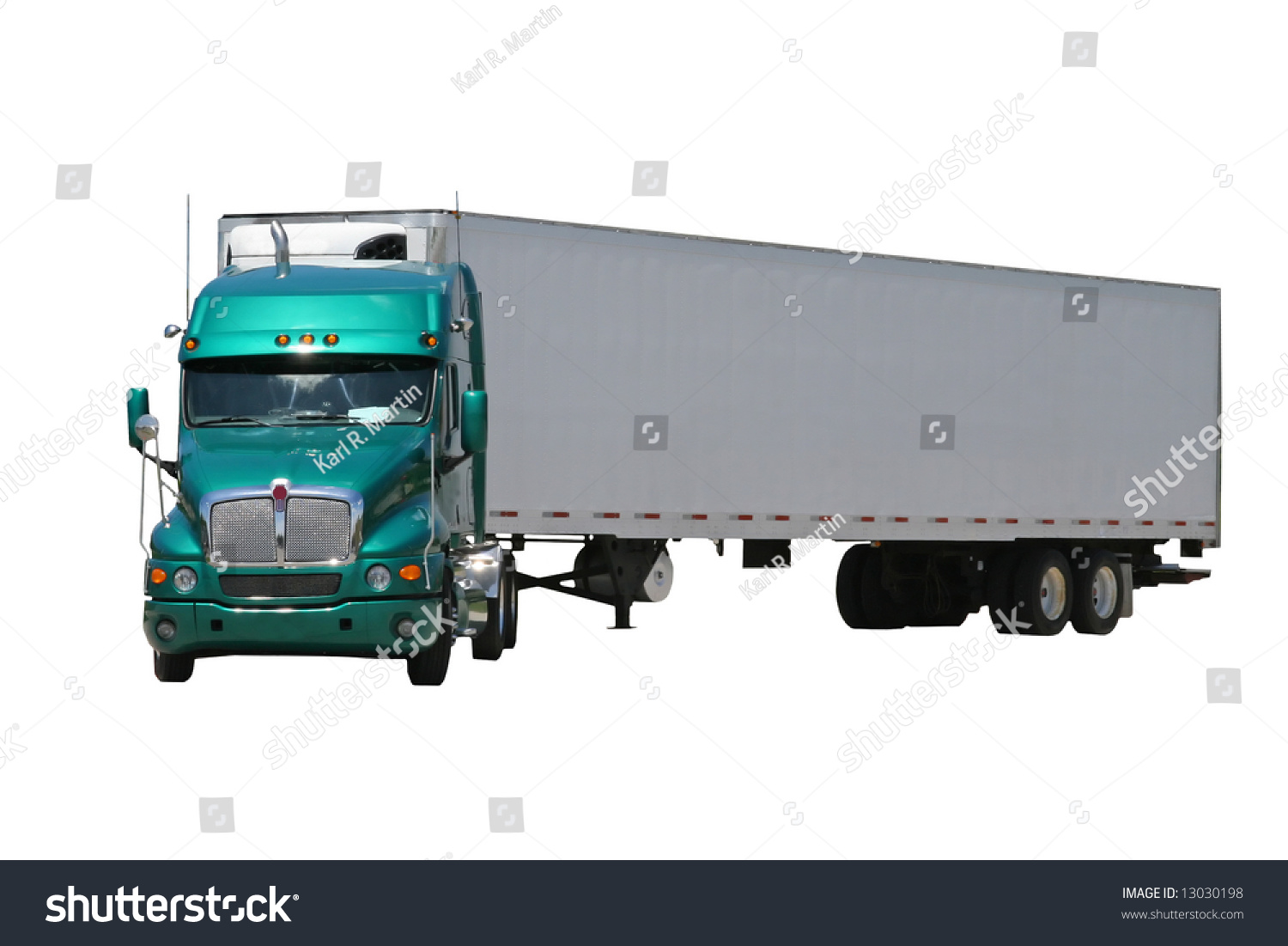 Tractor Trailer Stock : Isolated green semi tractor trailer turned stock photo