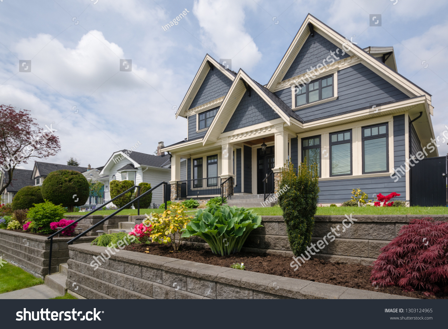 Luxury Residential House Front Yard Over Stock Photo Edit Now 1303124965