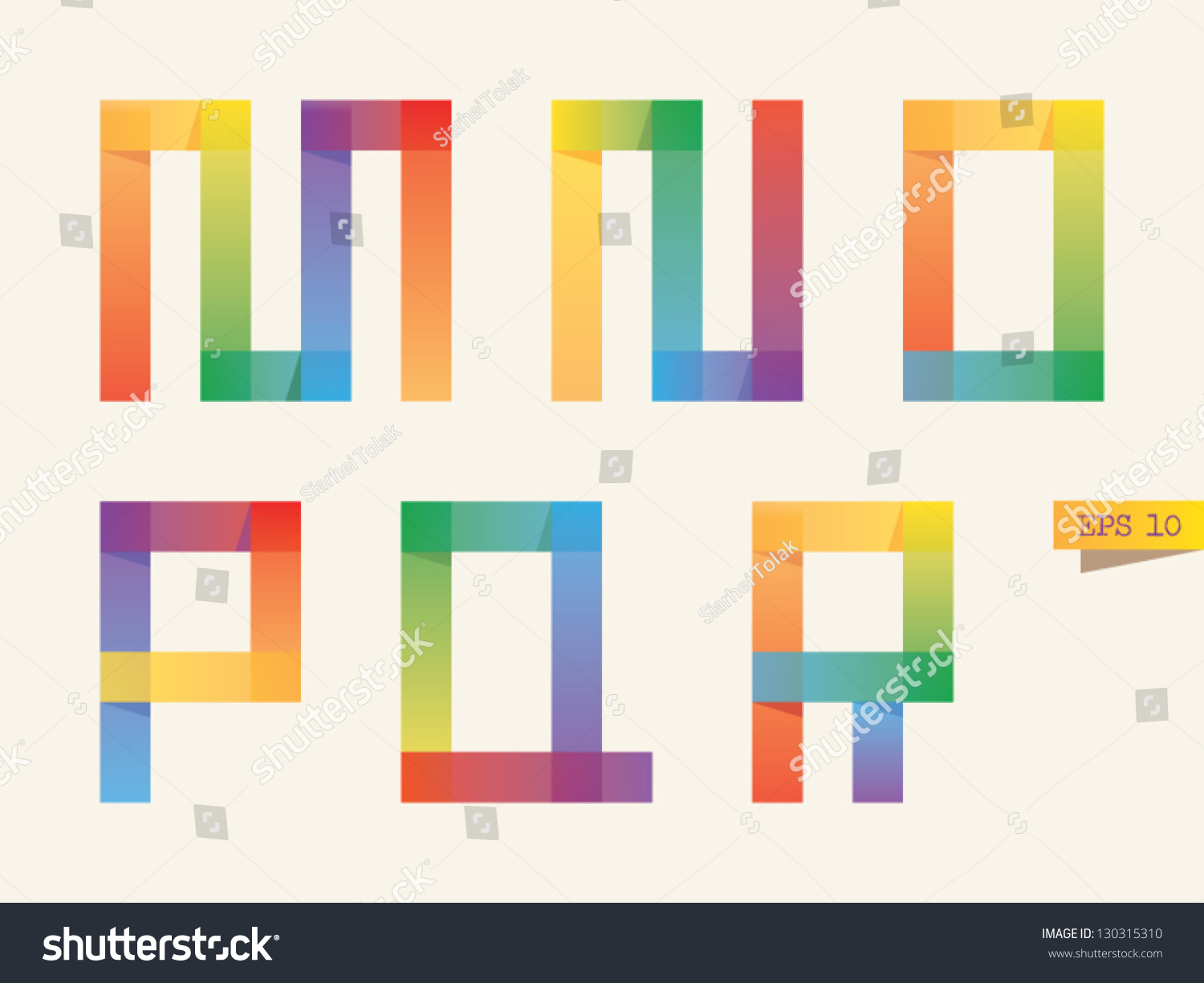 Colored sticky notes alphabet with rainbow colors. M, N, O, P,