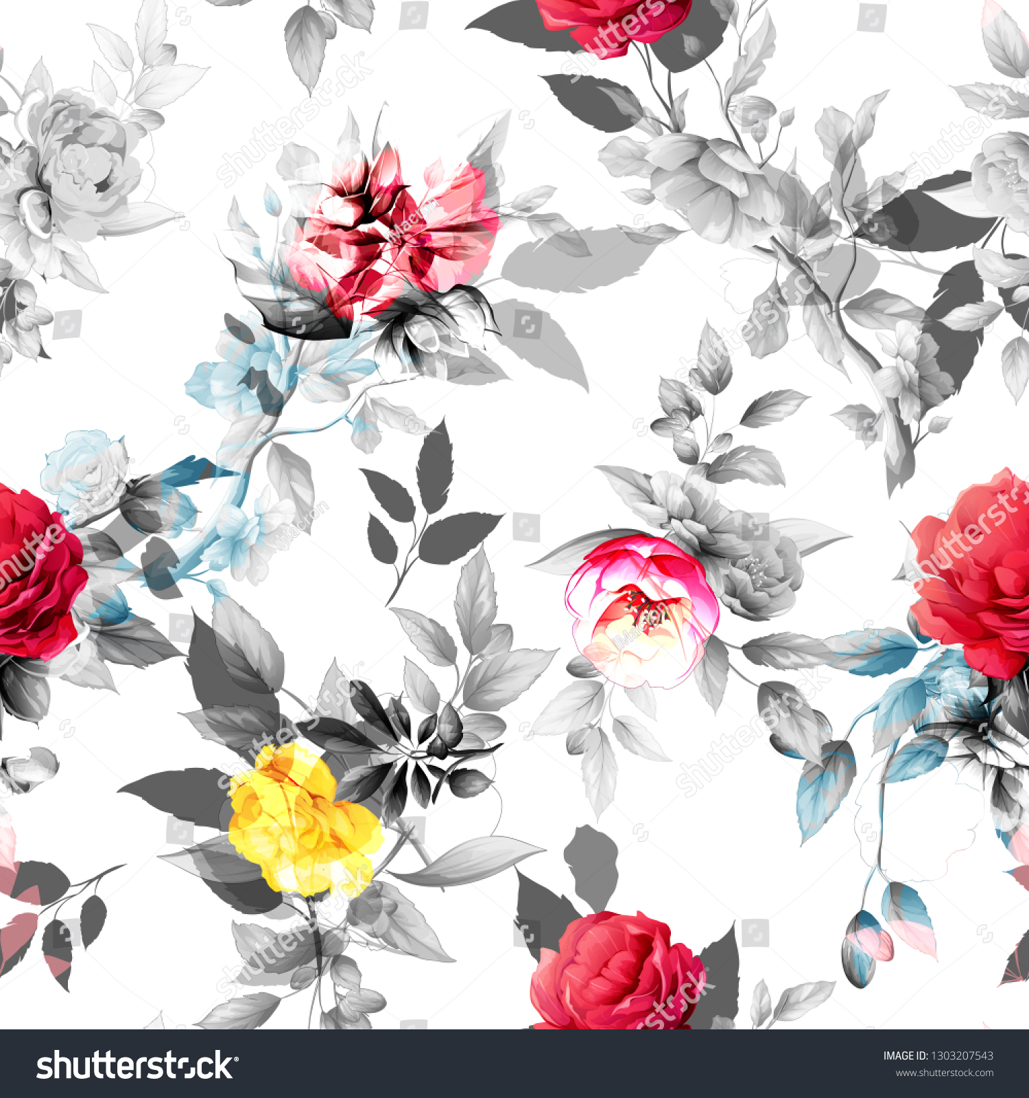 Seamless Floral Background Pattern Abstract Flowers Stock Vector
