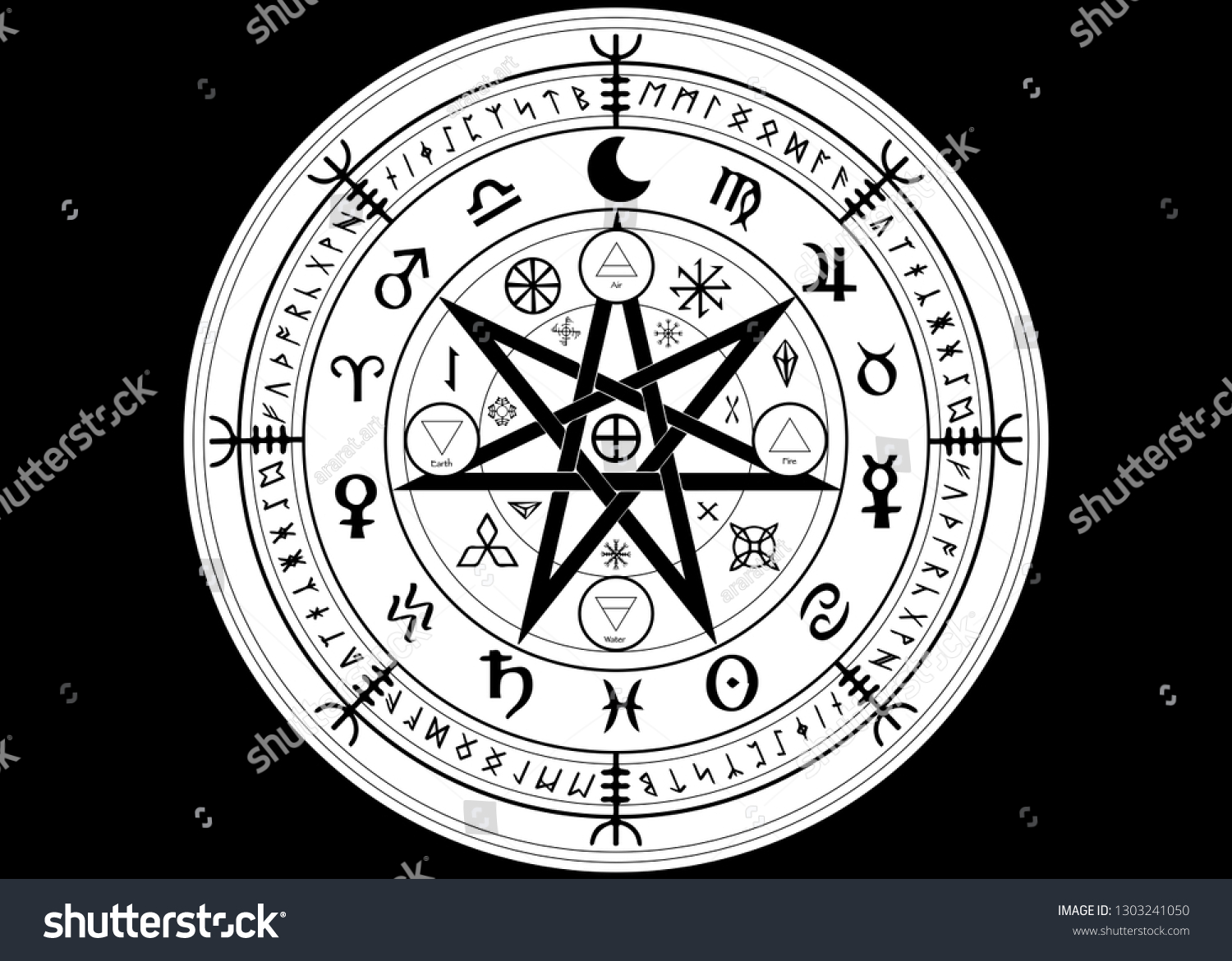 Wiccan symbol of protection. Set of Mandala Witches runes, Mystic Wicca divination. Ancient occult symbols, Earth Zodiac Wheel of the Year Wicca Astrological signs, vector isolated or black background #1303241050