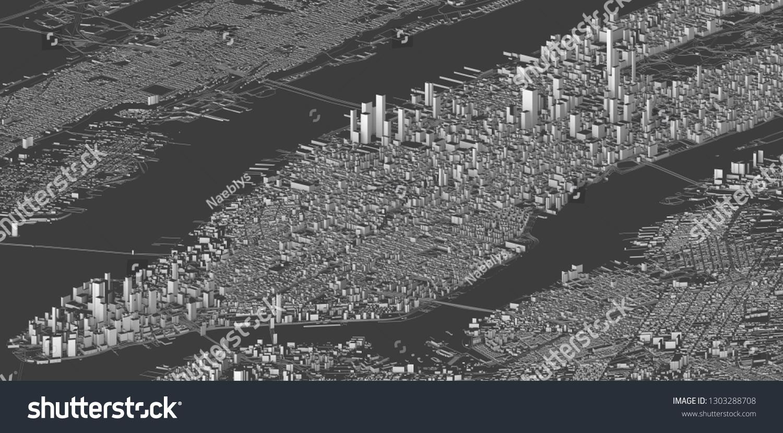 Map Of New York 3d.Satellite View New York City Map Stock Illustration 1303288708