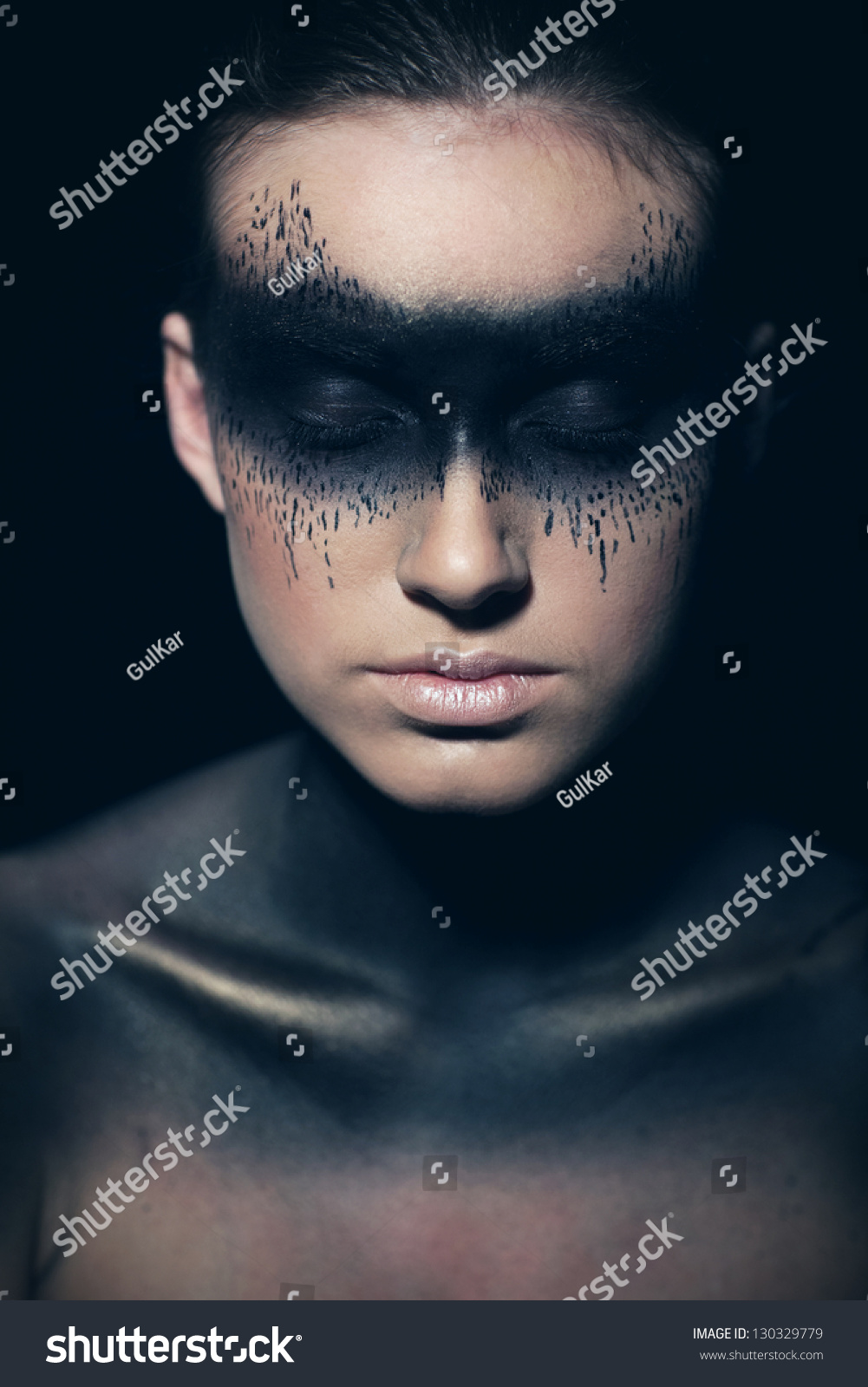 Woman Closed Eyes Bright Makeup Halloween Stock Photo Edit Now