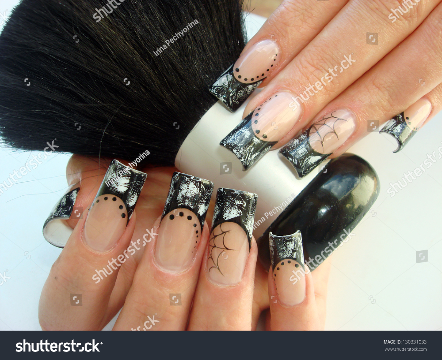 Closeup Elegant Halloween Nail Art Design Stock Photo Edit Now