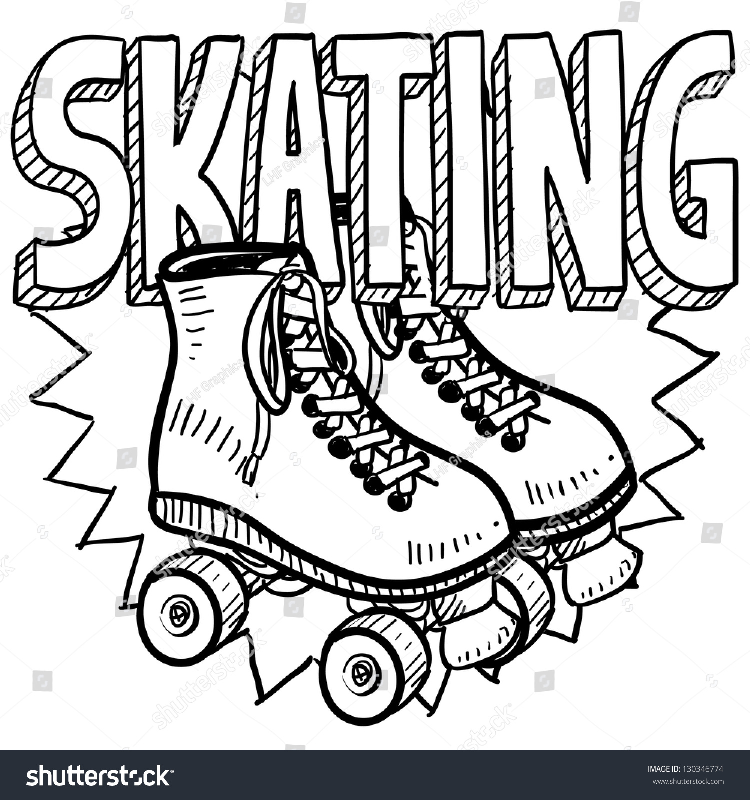 Roller skates book - Doodle Style Roller Skating Illustration In Vector Format Includes Text And Skates