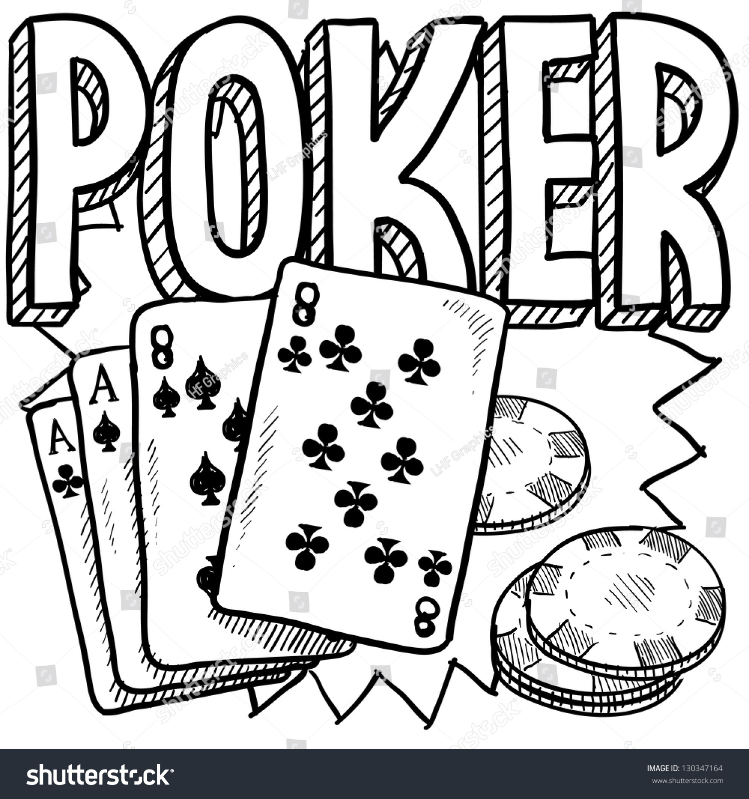 doodle style poker card game illustration stock vector royalty free Early 1900S Games doodle style poker card game illustration in vector format includes text cards and