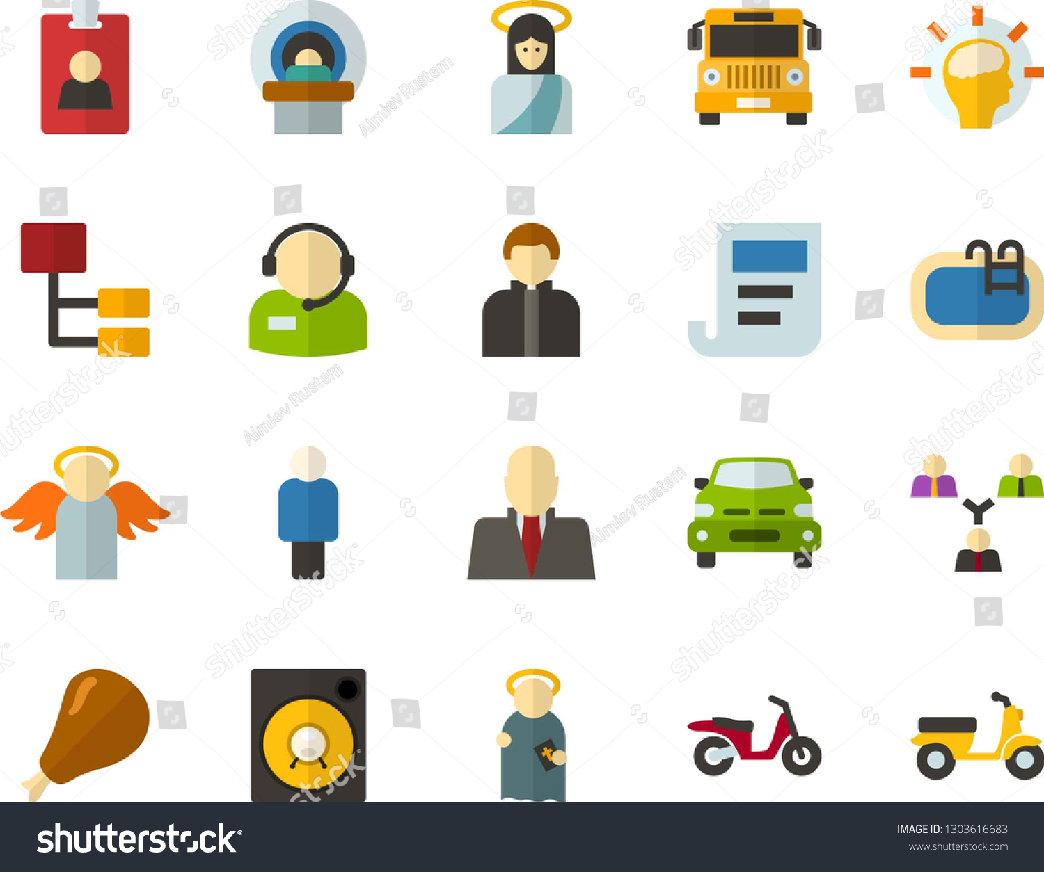 Color Flat Icon Set Jesus Flat Stock Vector (Royalty Free