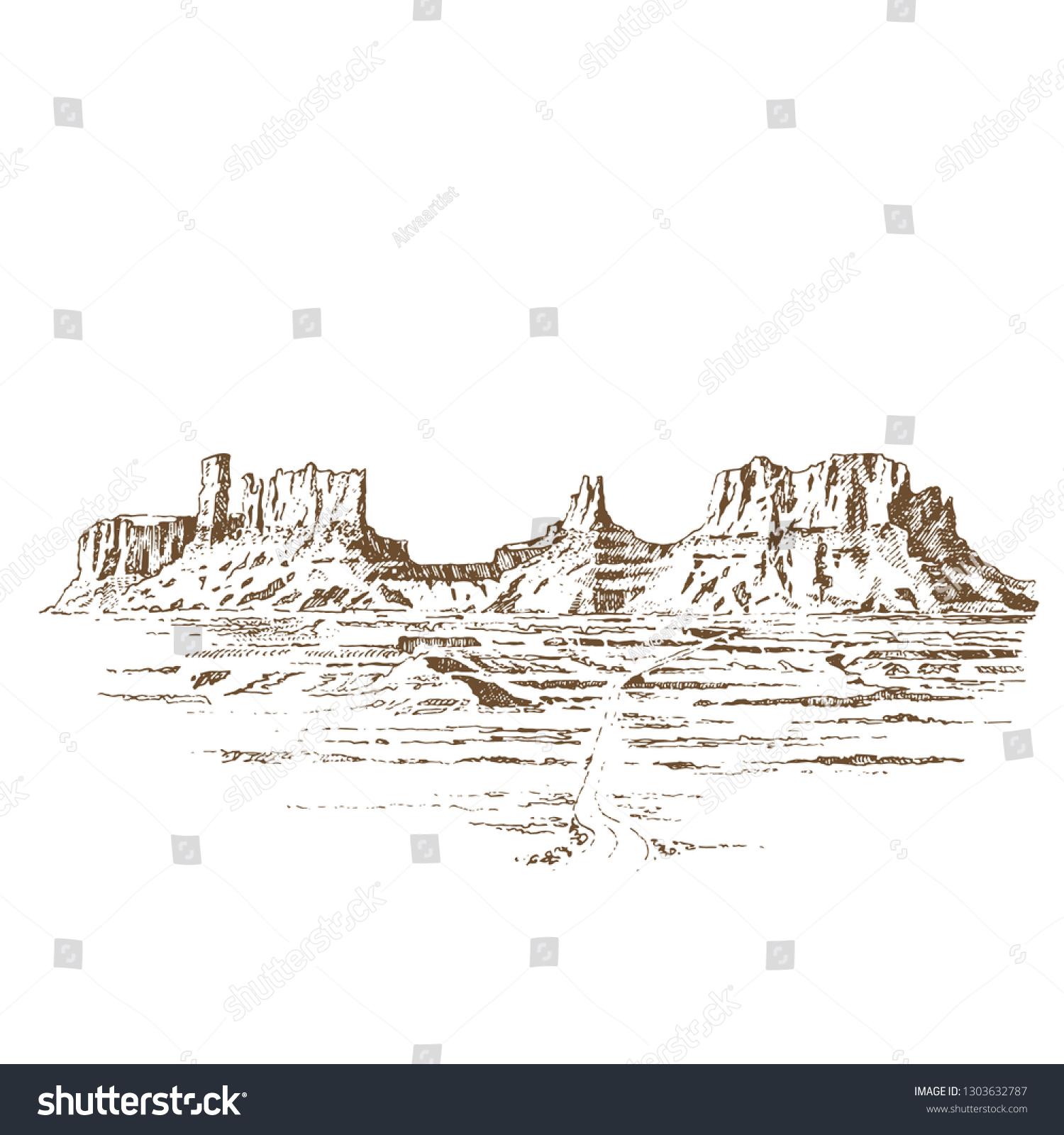 Grand Canyon USA. Engraving