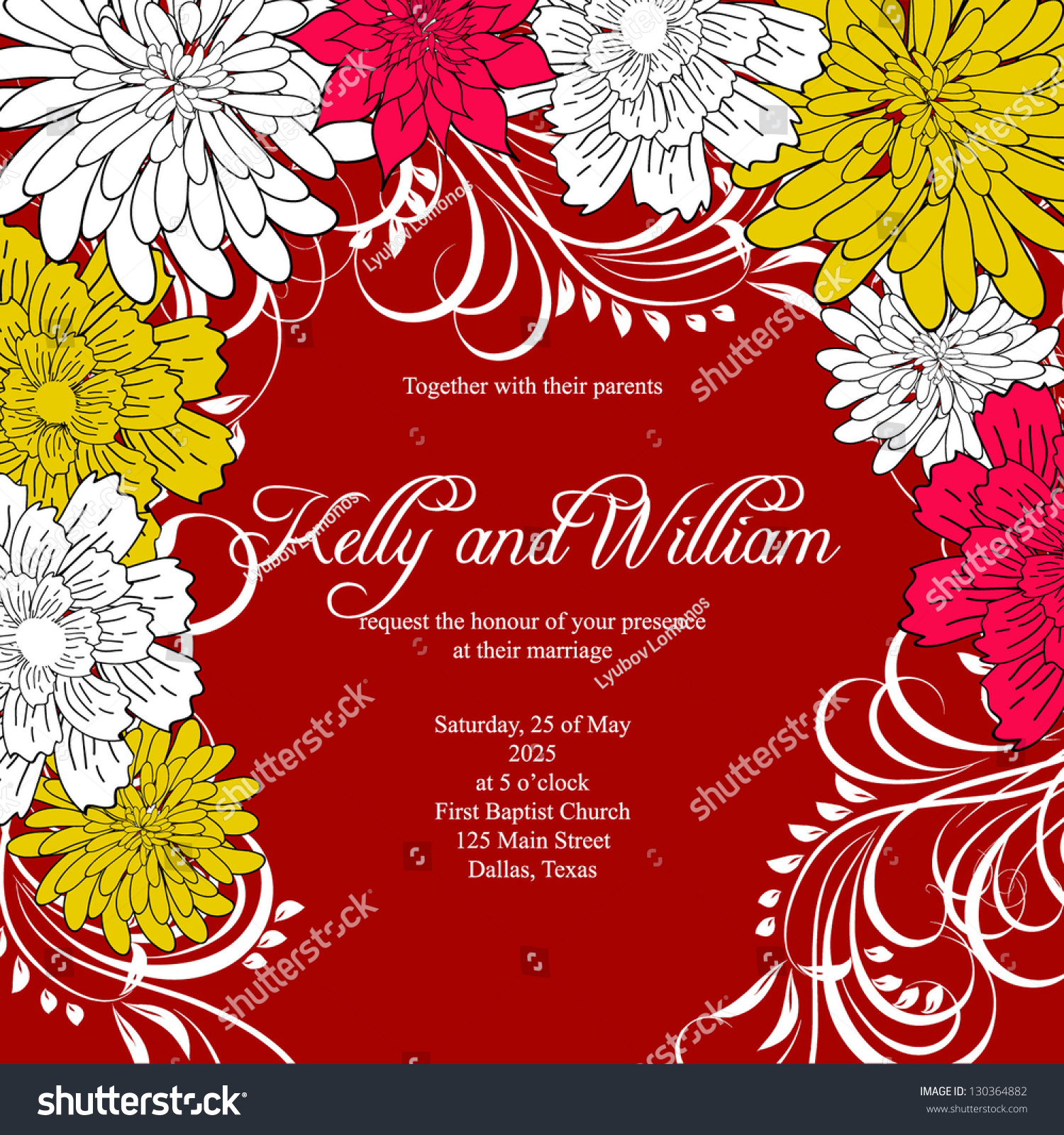 Invitation Wedding Card Abstract Floral Background Stock Vector ...