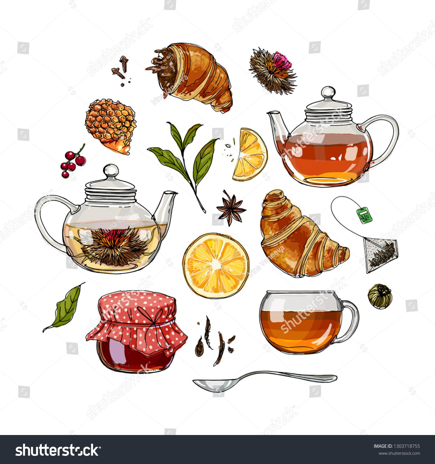 Color Sketch Food Jar Honey Bun Stock Vector Royalty Free 1303718755