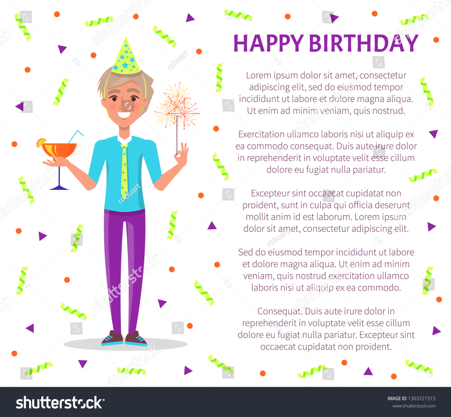 Happy Birthday Poster Man Cocktail Sparkler Stock Vector Royalty Free 1303721515