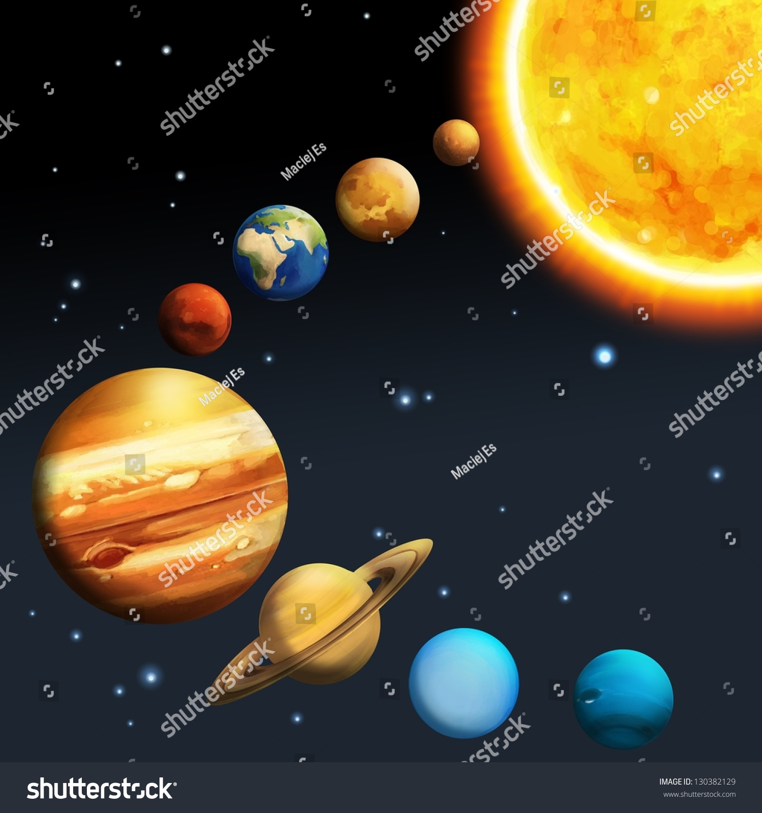 Solar system milky way astronomy kids stock illustration for Solar for kids