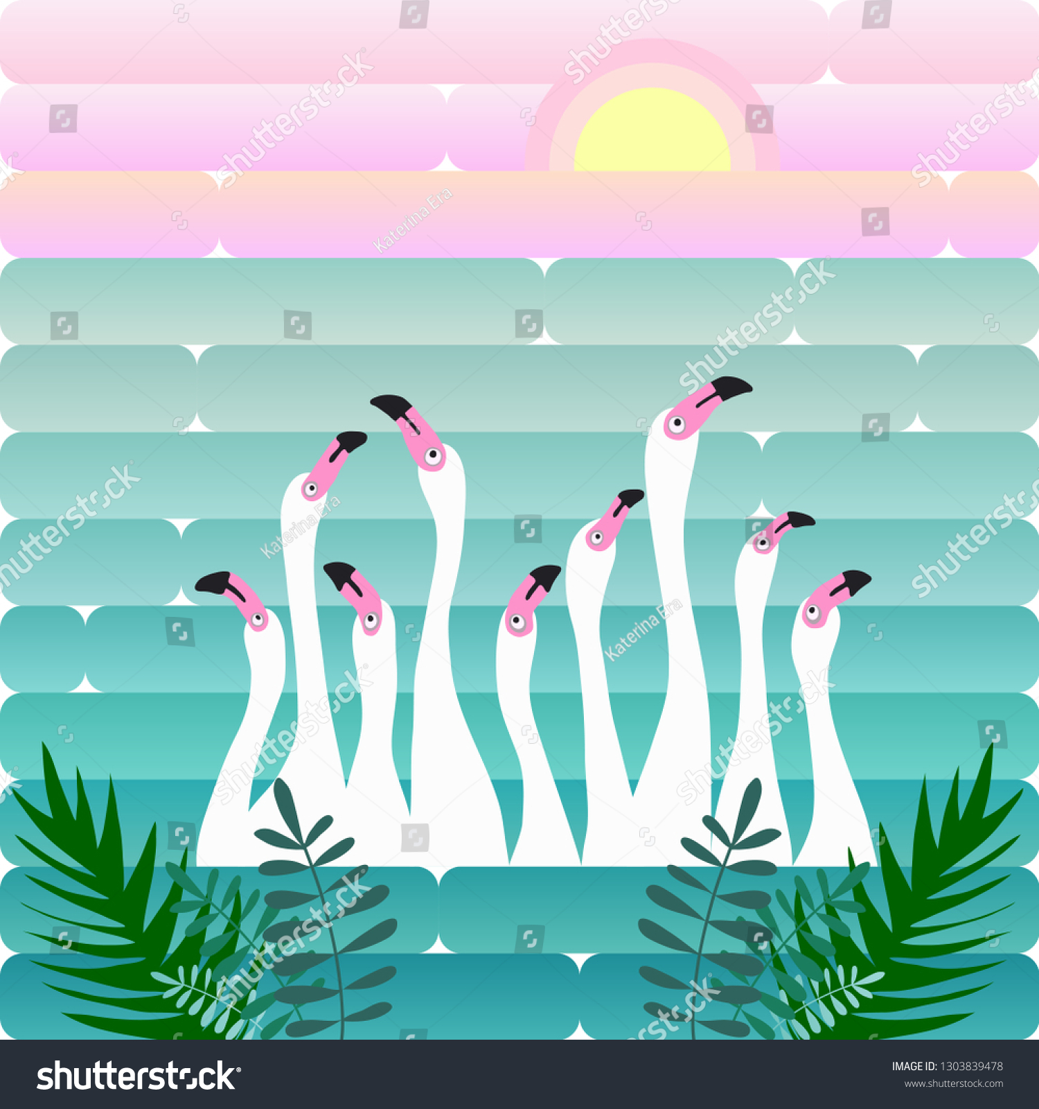 White Flamingos On Background Lake Sunrise Stock Vector Royalty Free 1303839478 A tropical garden should appear lush, this can be achieved through dense plantings of appropriate tropical plants have a very distinct appearance and color. shutterstock