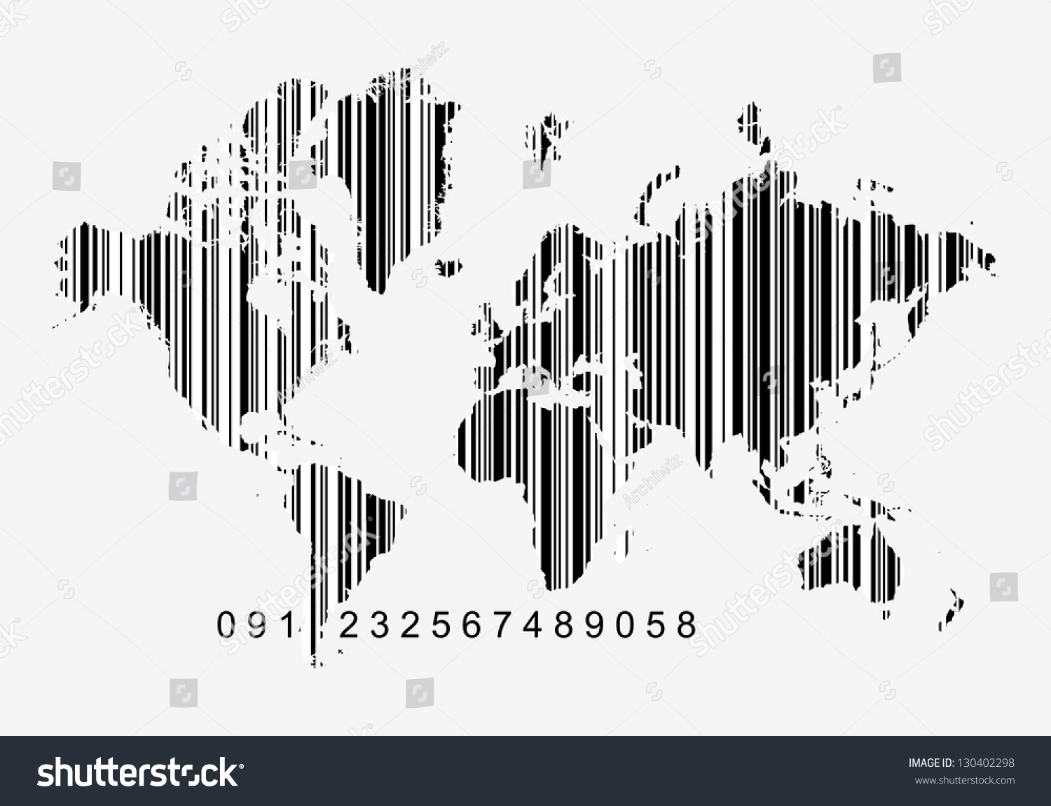 Global economy concept world map bar vector de stock130402298 global economy concept world map as a bar code white bars can be opaque gumiabroncs Image collections