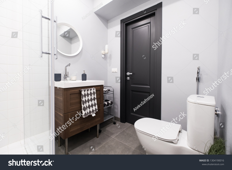 Bathroom Toilet Shades Gray Stock Photo Edit Now 1304190016