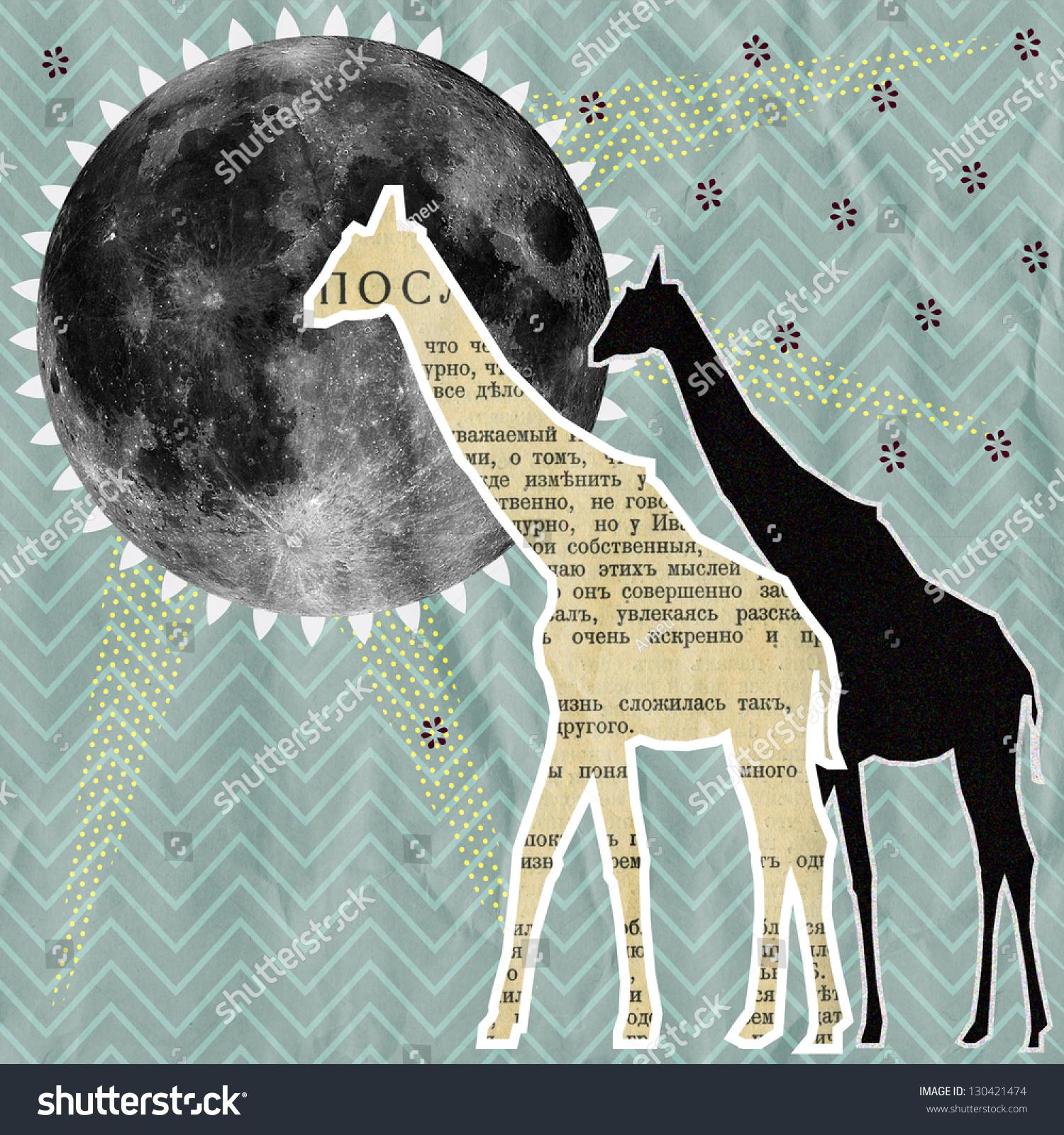 Unusual Template Collage Illustration Giraffes Moon Stock ...