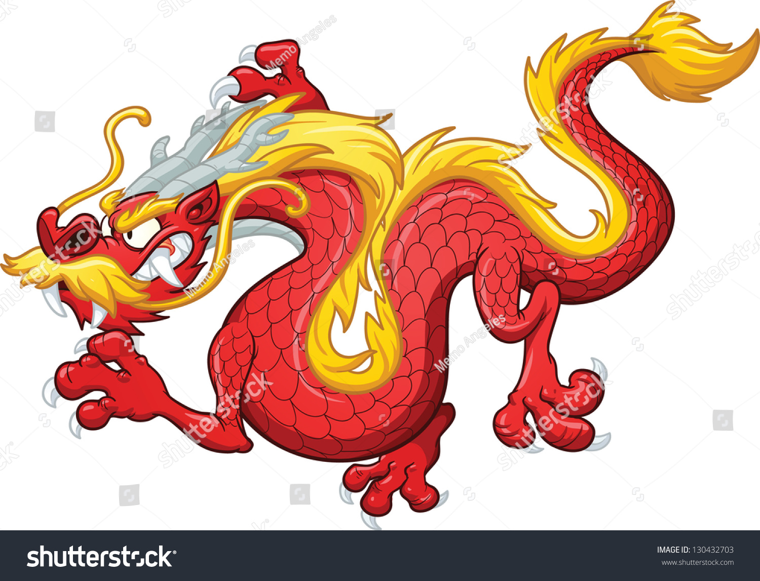 Cartoon Chinese Red Dragon Vector Clip Stock Vector 130432703 ...