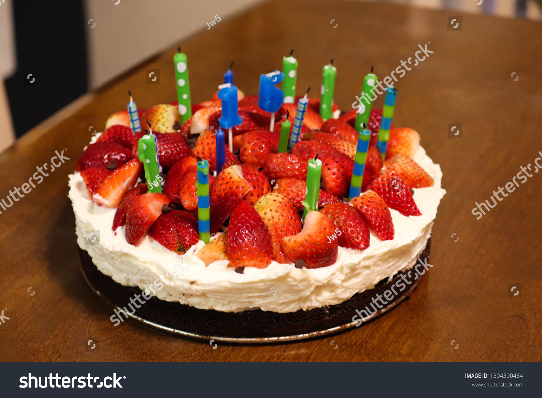 Birthday Cake Burning Candle Number 15 Stock Photo (Edit Now) 223455310