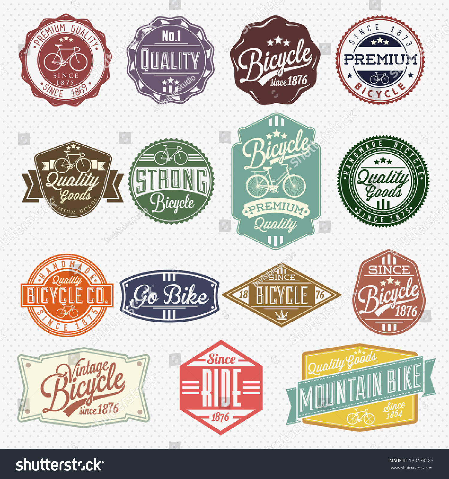 Vintage Frame Bicycle Label Set Template Stock Vector 130439183 ...