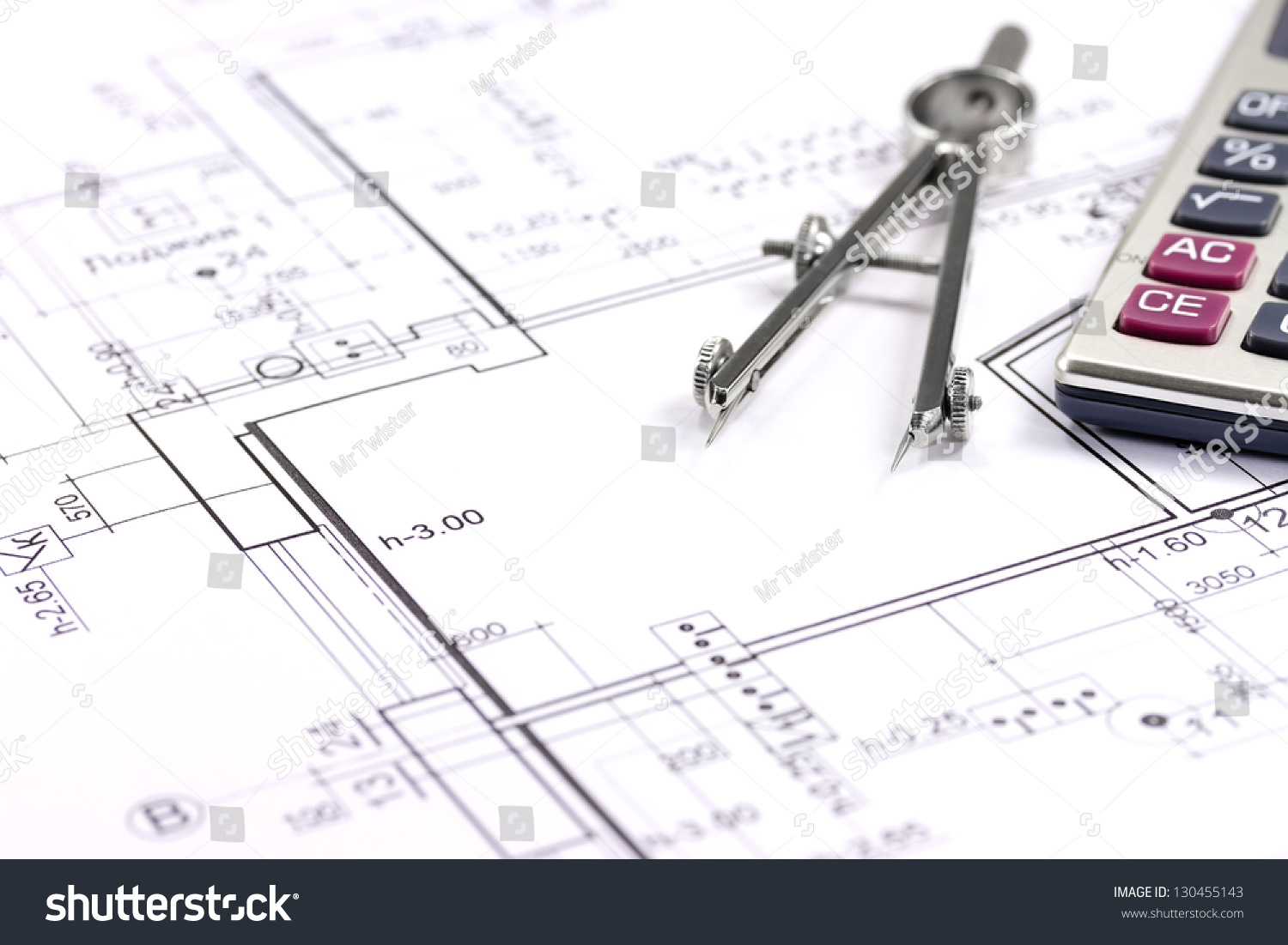 Architectural Blueprints Drawing Compass Calculator Stock