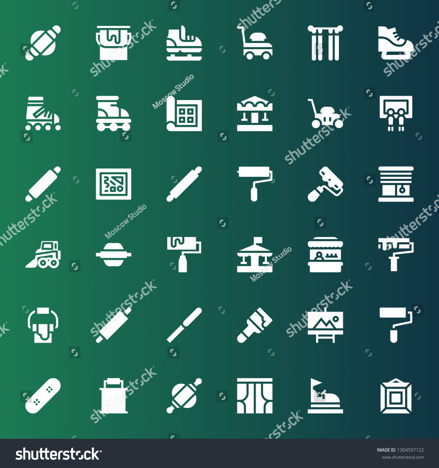 Roller Icon Set Collection 36 Filled Stock Vector Royalty Free 1304597122