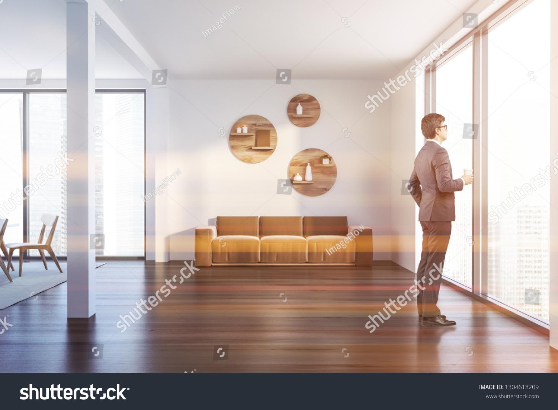 Man Interior Living Room White Walls Stock Photo Edit Now