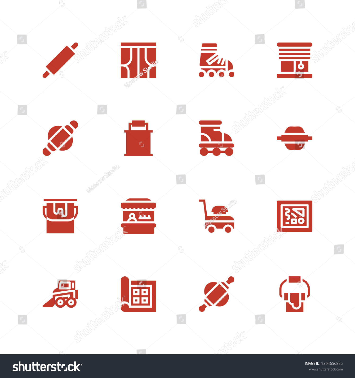 Roller Icon Set Collection 16 Filled Stock Vector Royalty Free 1304656885