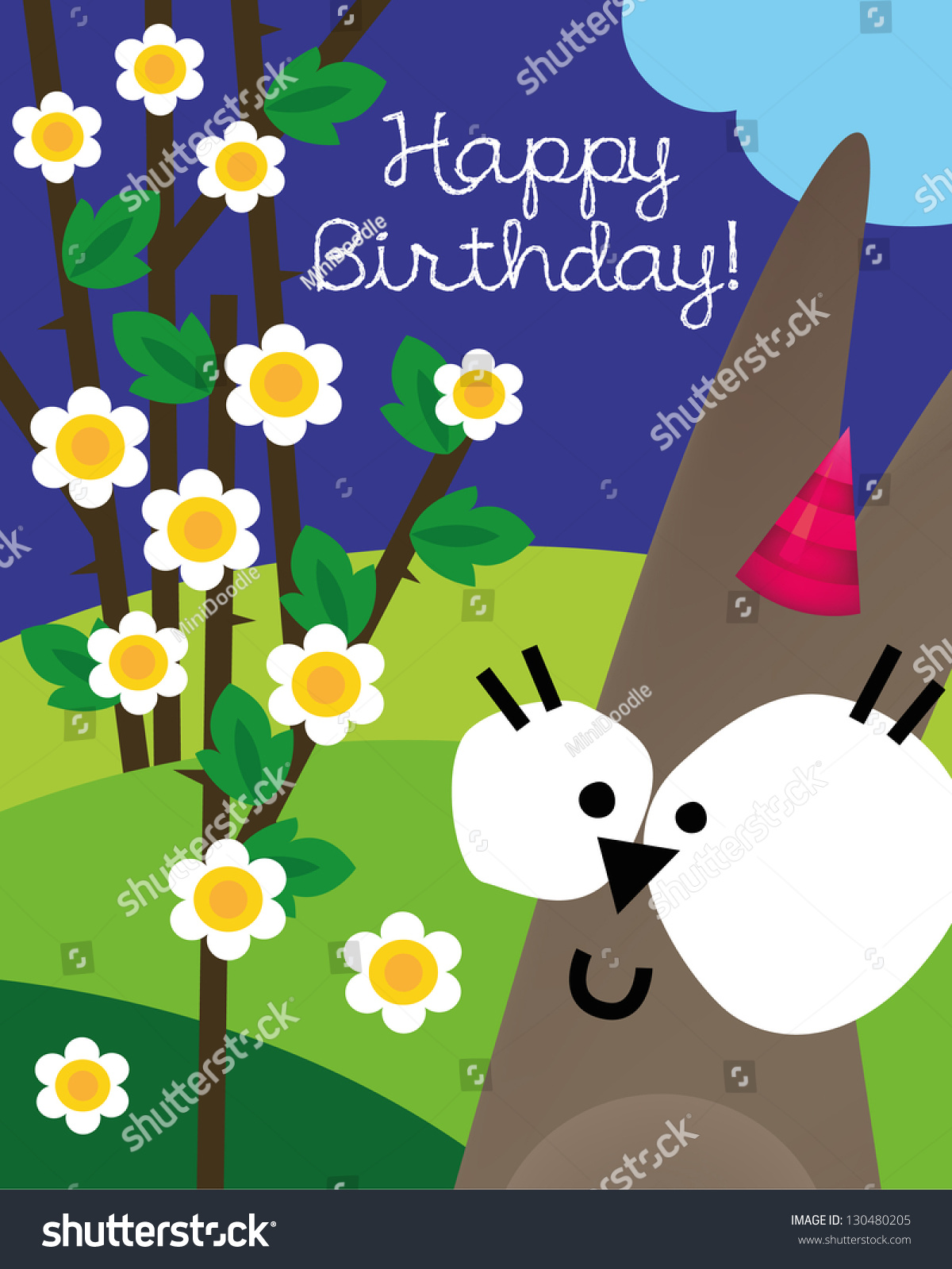 Birthday Card Animal Character Vector Illustration Stock Vector