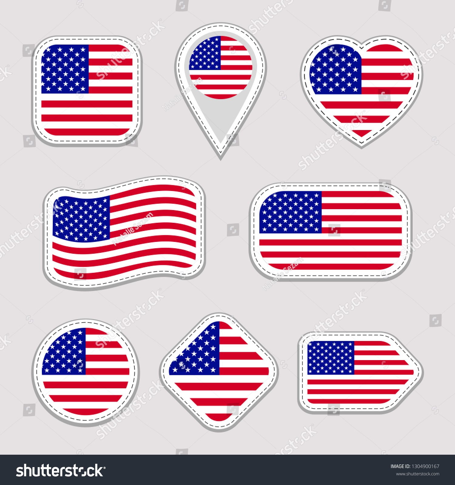 0b00fe700ed The USA flag set. American national flags stickers collection. isolated  geometric icons. Web