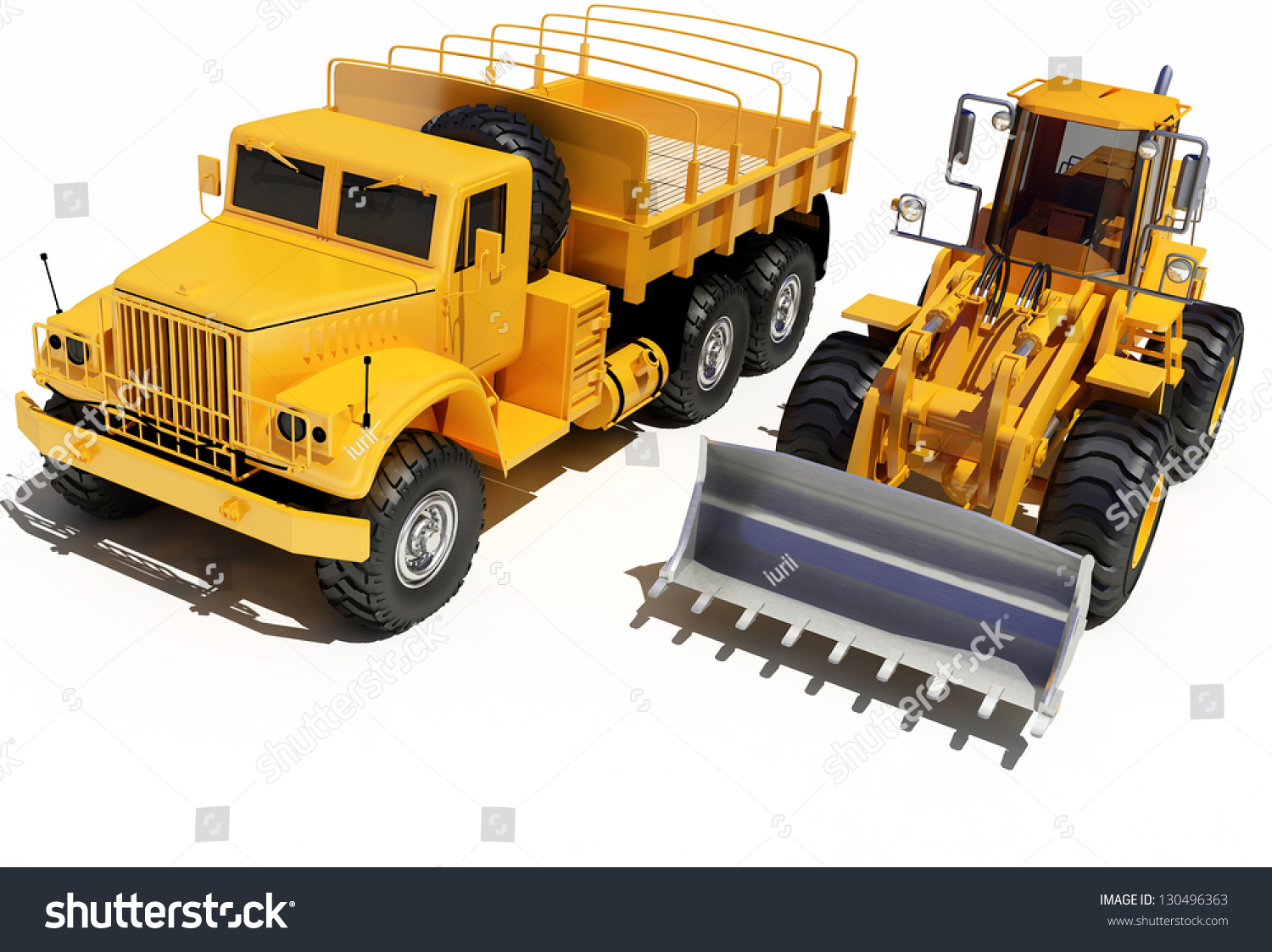 Construction Equipment On A White Background