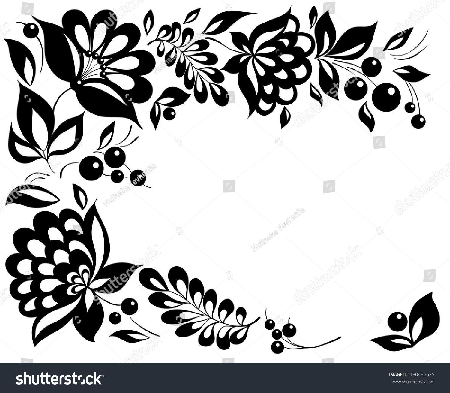 Blackandwhite flowers leaves floral design element stock for Copy design
