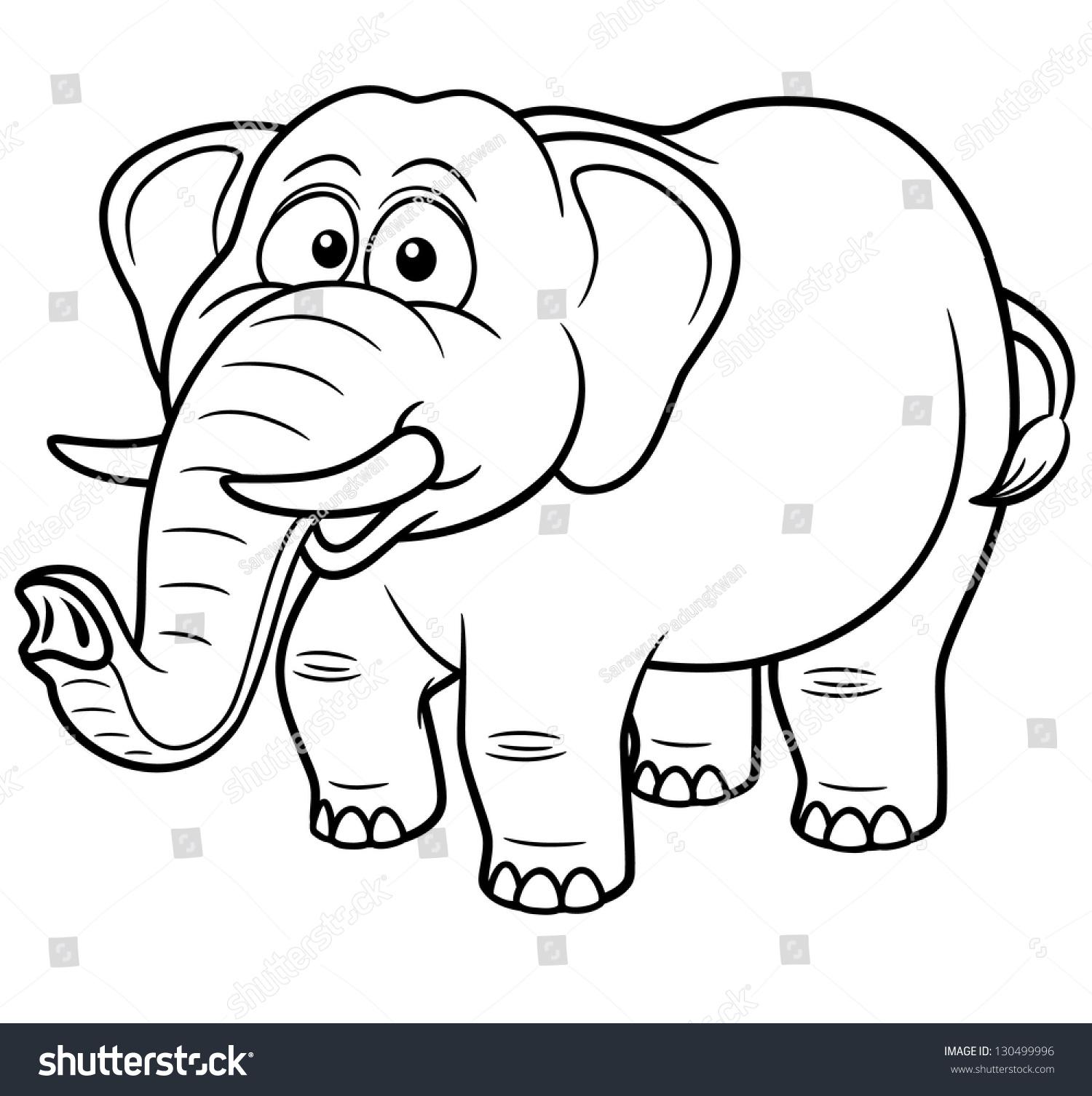 Vector illustration cartoon elephant coloring book stock for Cartoon elephant coloring pages