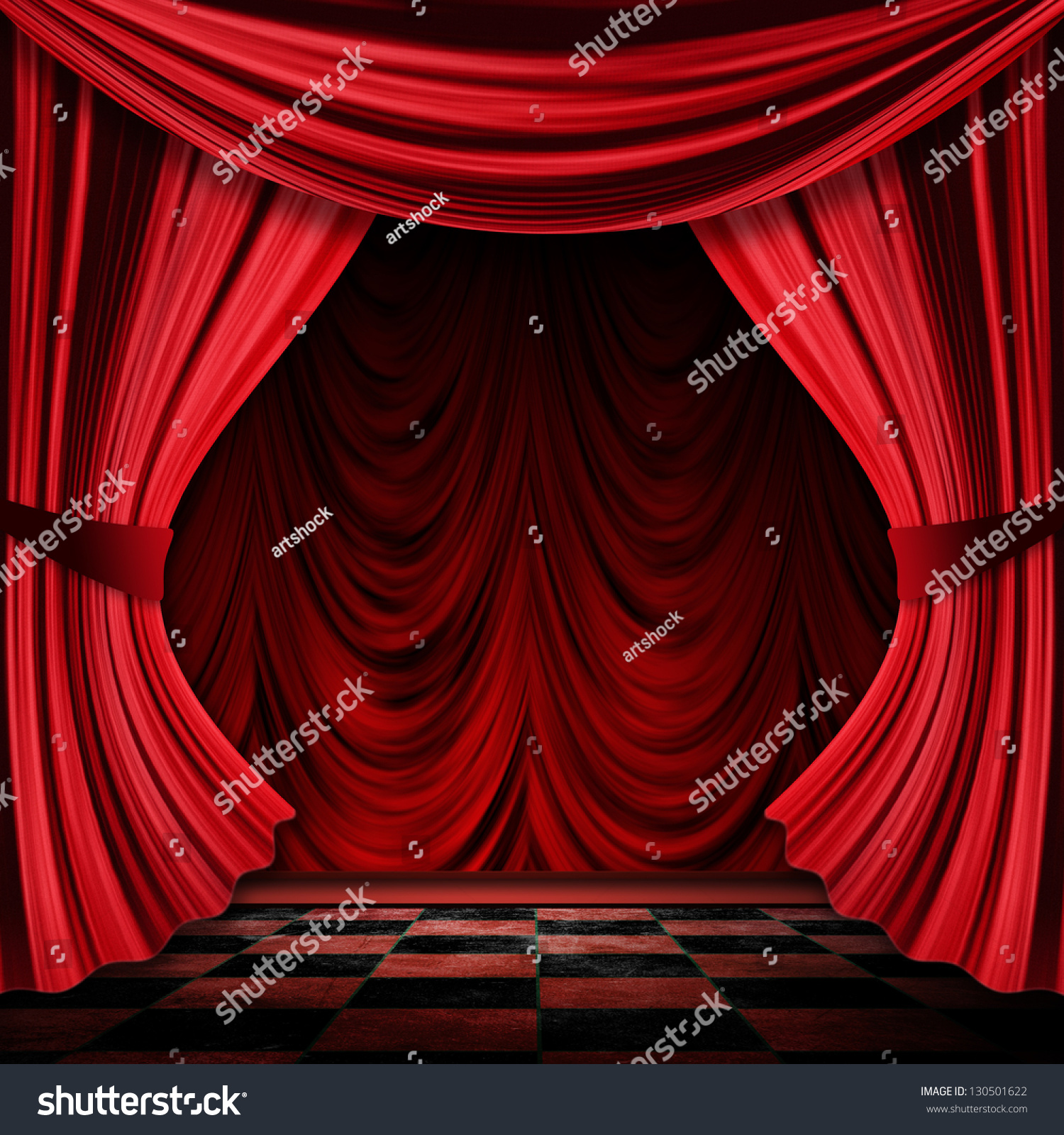 Stock photo dramatic red old fashioned elegant theater stage stock - Close View Of Vintage Decorative Red Theater Stage Curtains