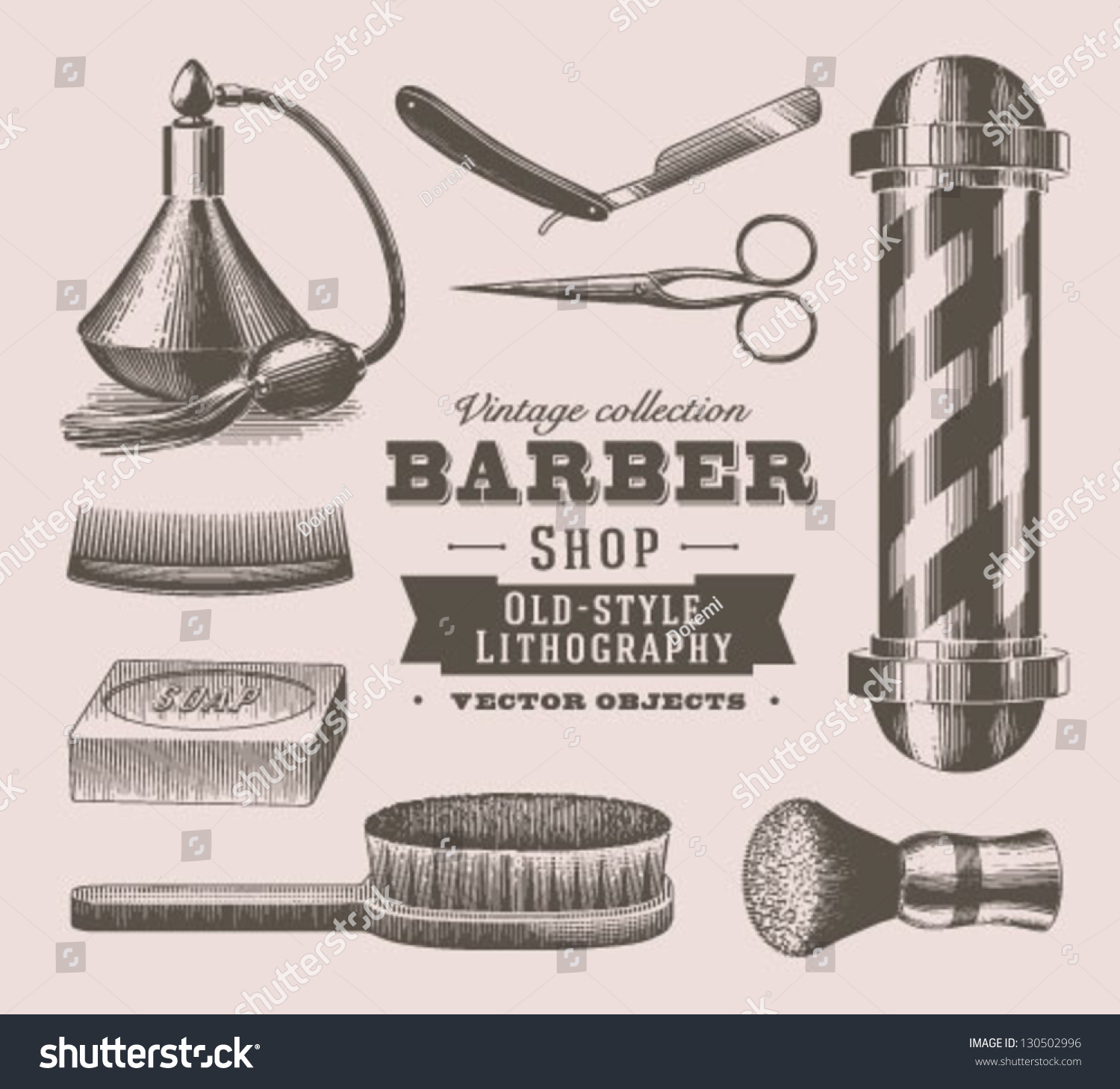 Barber Terminology : Vintage Barber Shop Objects Stock Vector Illustration 130502996 ...