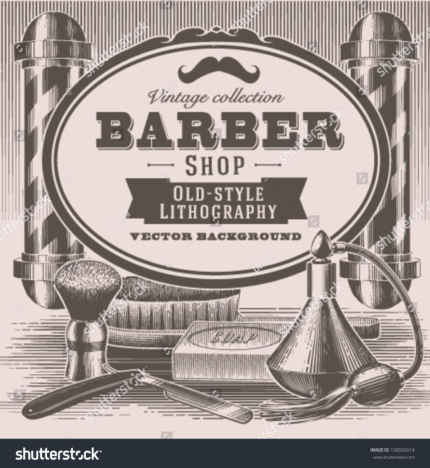 Barber Background : Vintage Barber Shop Background Stock Vector Illustration 130503014 ...
