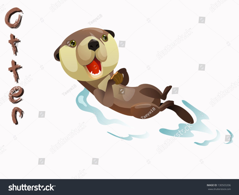 Cute Otter Cartoon Vector Standing On Stock Vector
