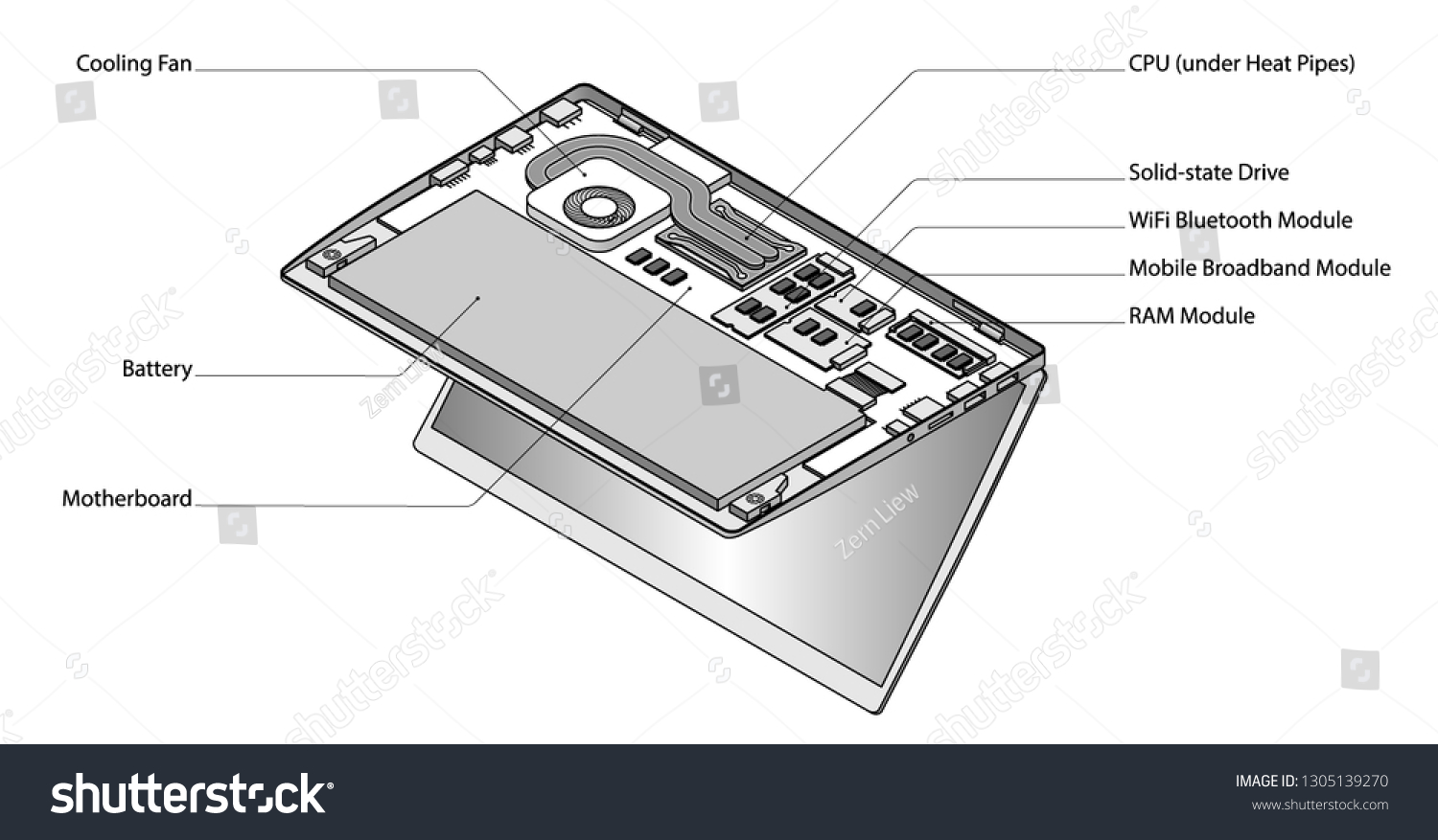 lineart detailed isometric drawing laptop computer stock vector (royalty  free) 1305139270  shutterstock