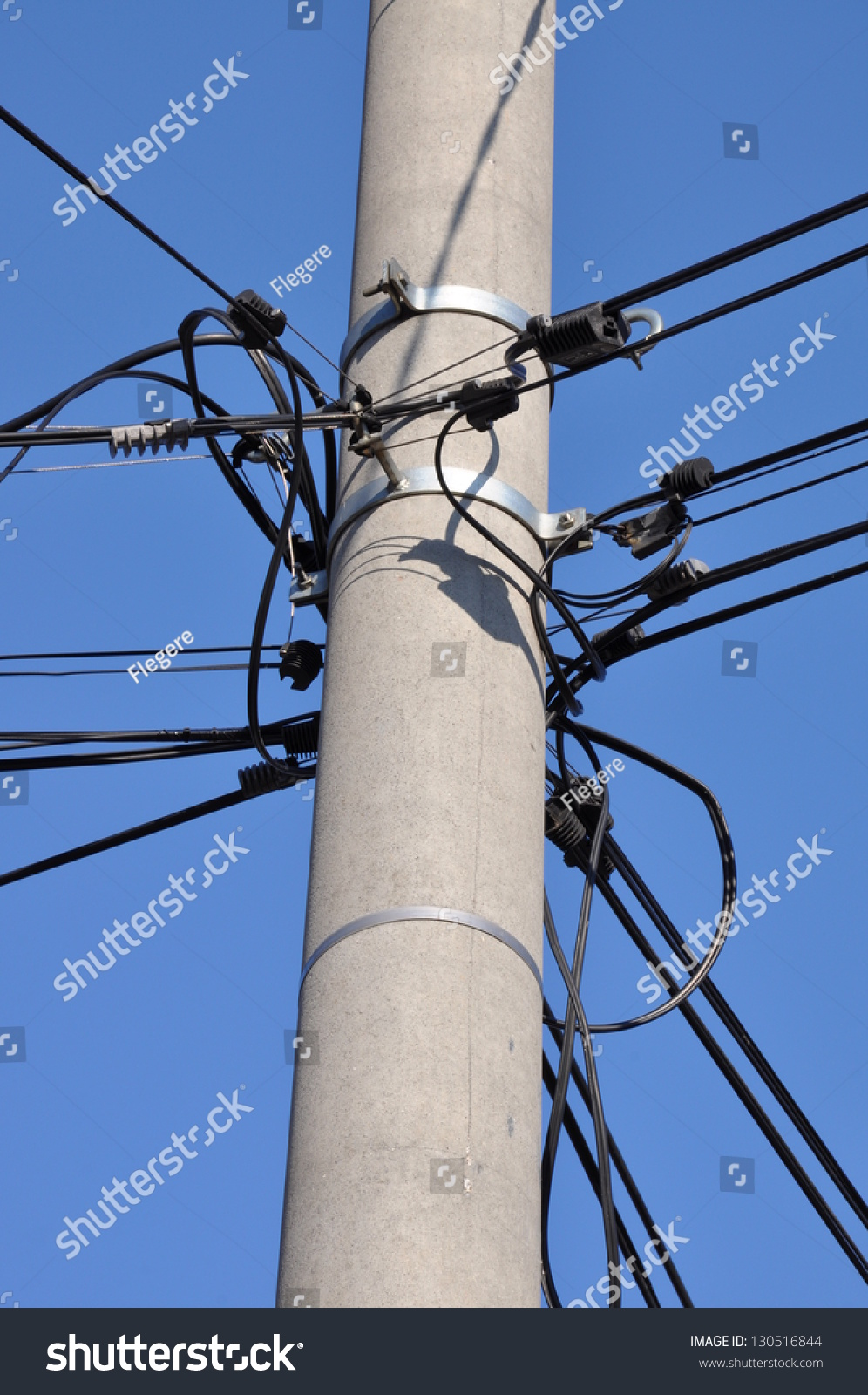 Telephone Cable Lines On Pole Against Stock Photo Edit Now Wiring Junction Block A Blue Sky